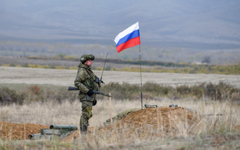 A Russian peacekeeper patrols at the checkpoint outside Askeran, Khojaly district, Azerbaijan, Nov. 20, 2020. (AFP)