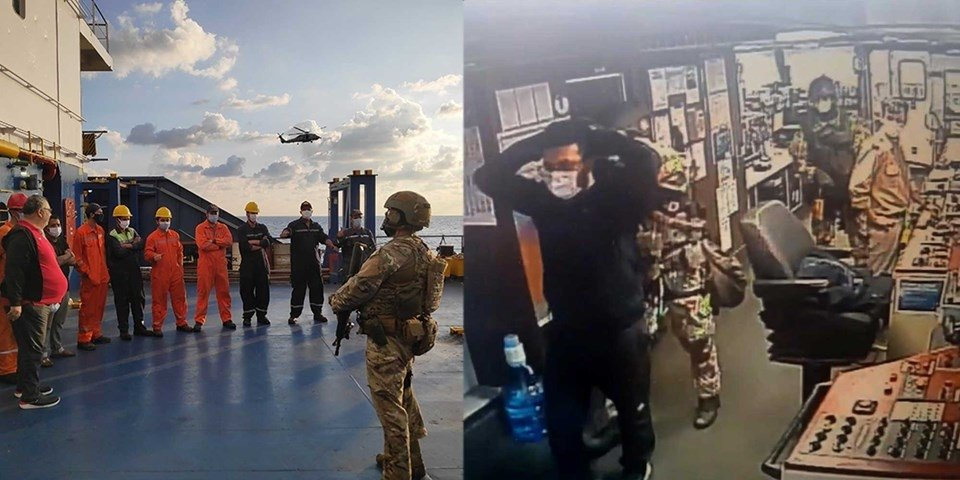 This combination photo taken from footage obtained aboard two vessels shows soldiers forcing the Turkish crew to abandon their positions at gunpoint on the right on Nov. 22, 2020, while on the left, the crew of a Panama-flagged Libya-bound vessel stands relaxed during the search by Operation Irini officers in the Eastern Mediterranean on Nov. 18, 2020.