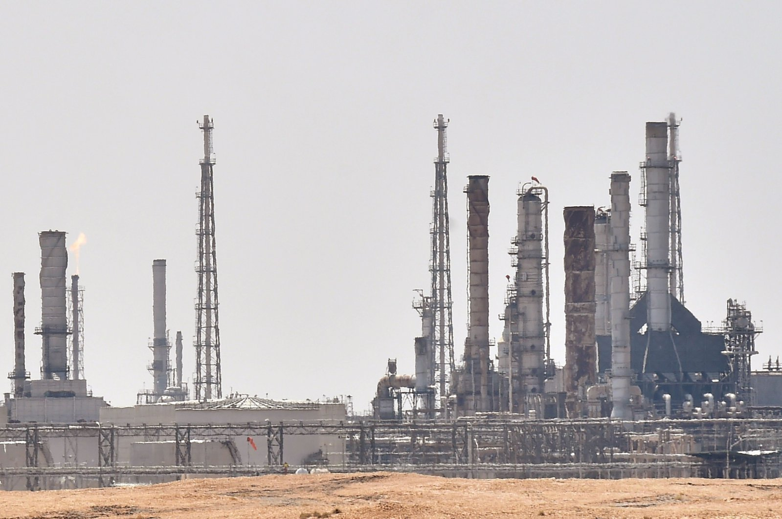 A picture taken on Sept. 15, 2019, shows an Aramco oil facility near the area of al-Khurj, just south of the Saudi capital Riyadh. (AFP Photo)