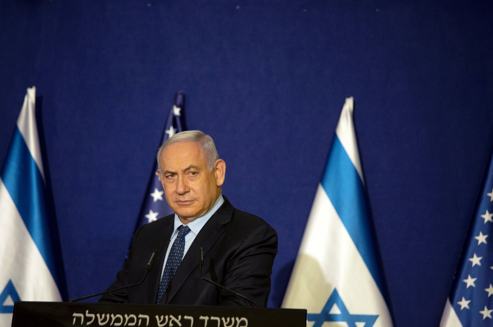 Israeli Prime Minister Benjamin Netanyahu listens during a joint statement with U.S. Secretary of State Mike Pompeo, Jerusalem, Nov. 19, 2020. (REUTERS Photo)