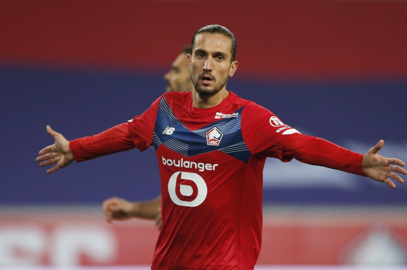 Lille's Yusuf Yazıcı celebrates a goal against Lorient during a Ligue 1 game in Lille, France, Nov. 22, 2020. (Reuters Photo)
