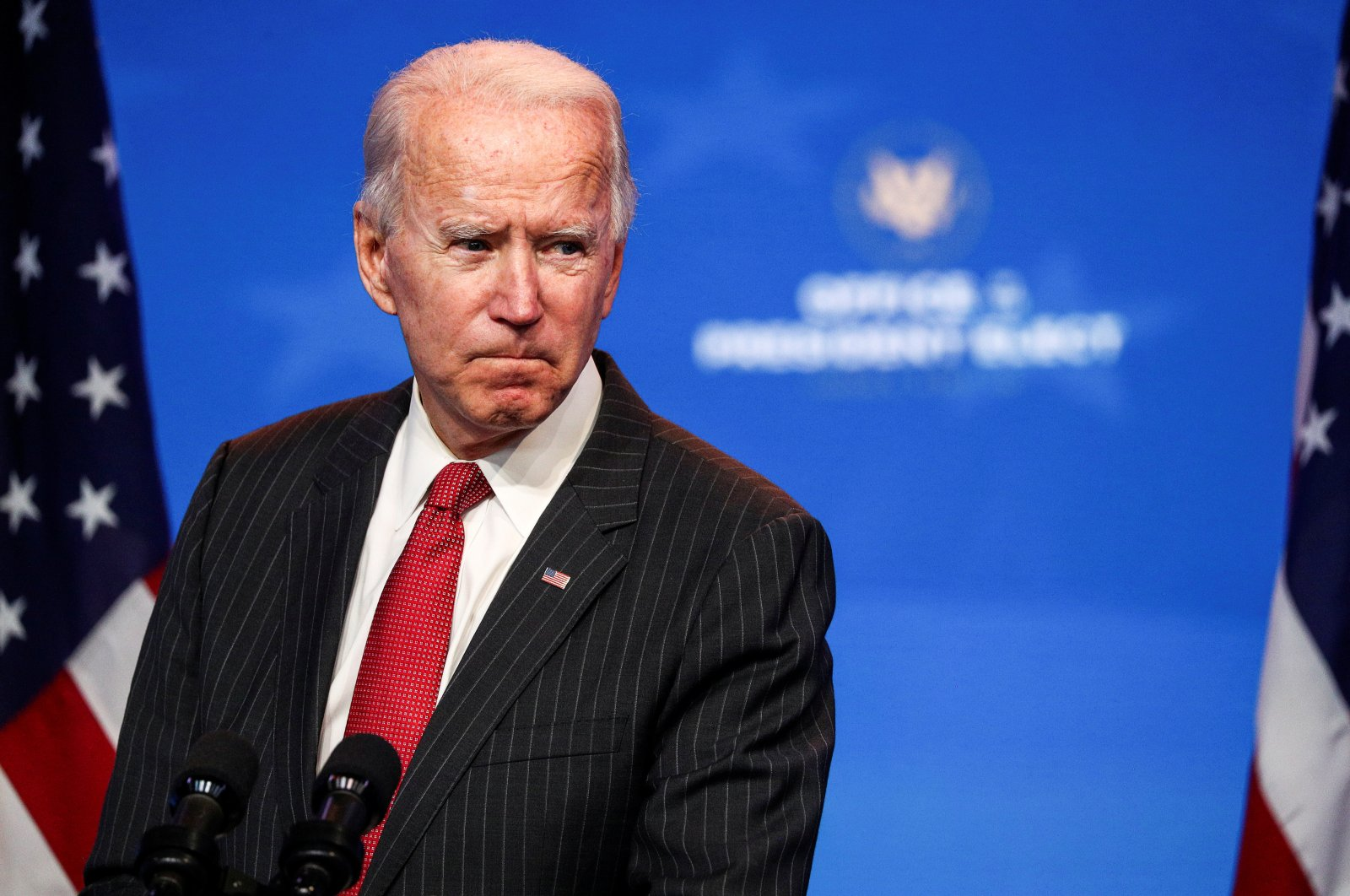 U.S. President-elect Joe Biden speaks to reporters following an online meeting with members of the National Governors Association (NGA) executive committee, Wilmington, Delaware, U.S., Nov. 19, 2020. (REUTERS Photo)