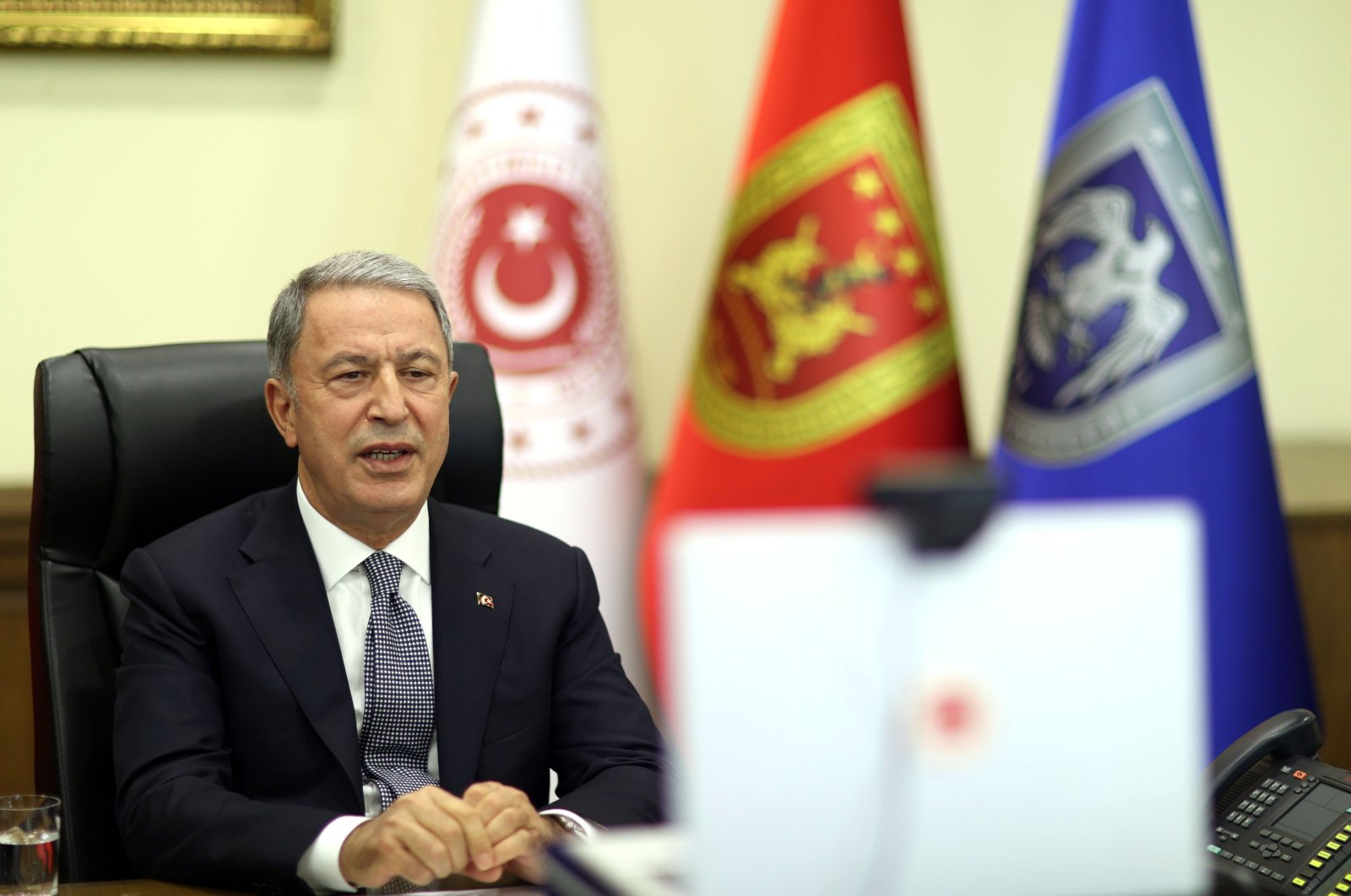 Turkish Defense Minister Hulusi Akar speaks at a virtual meeting of the 12th Halifax Security Forum in Ankara, Turkey, Nov. 23, 2020. (DHA Photo)