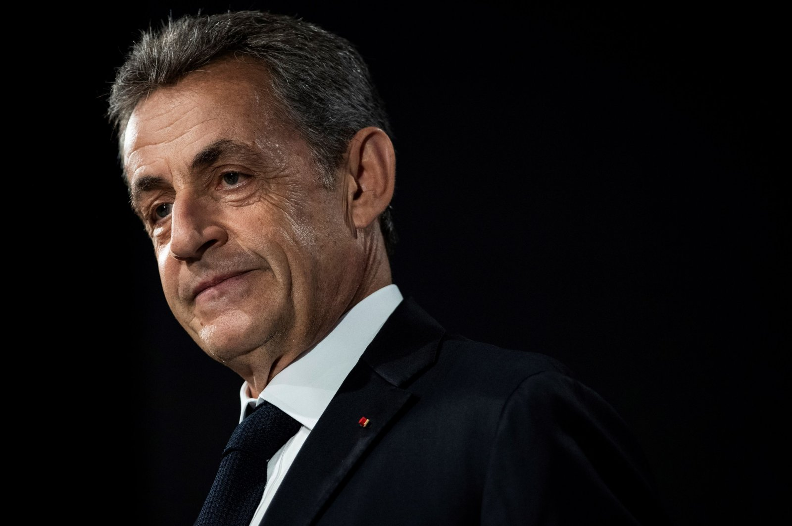 In this file photo taken on June 21, 2019 former French President Nicolas Sarkozy delivers a speech as he attends a conference marking the fiftieth anniversary of the election of Georges Pompidou. (AFP Photo)
