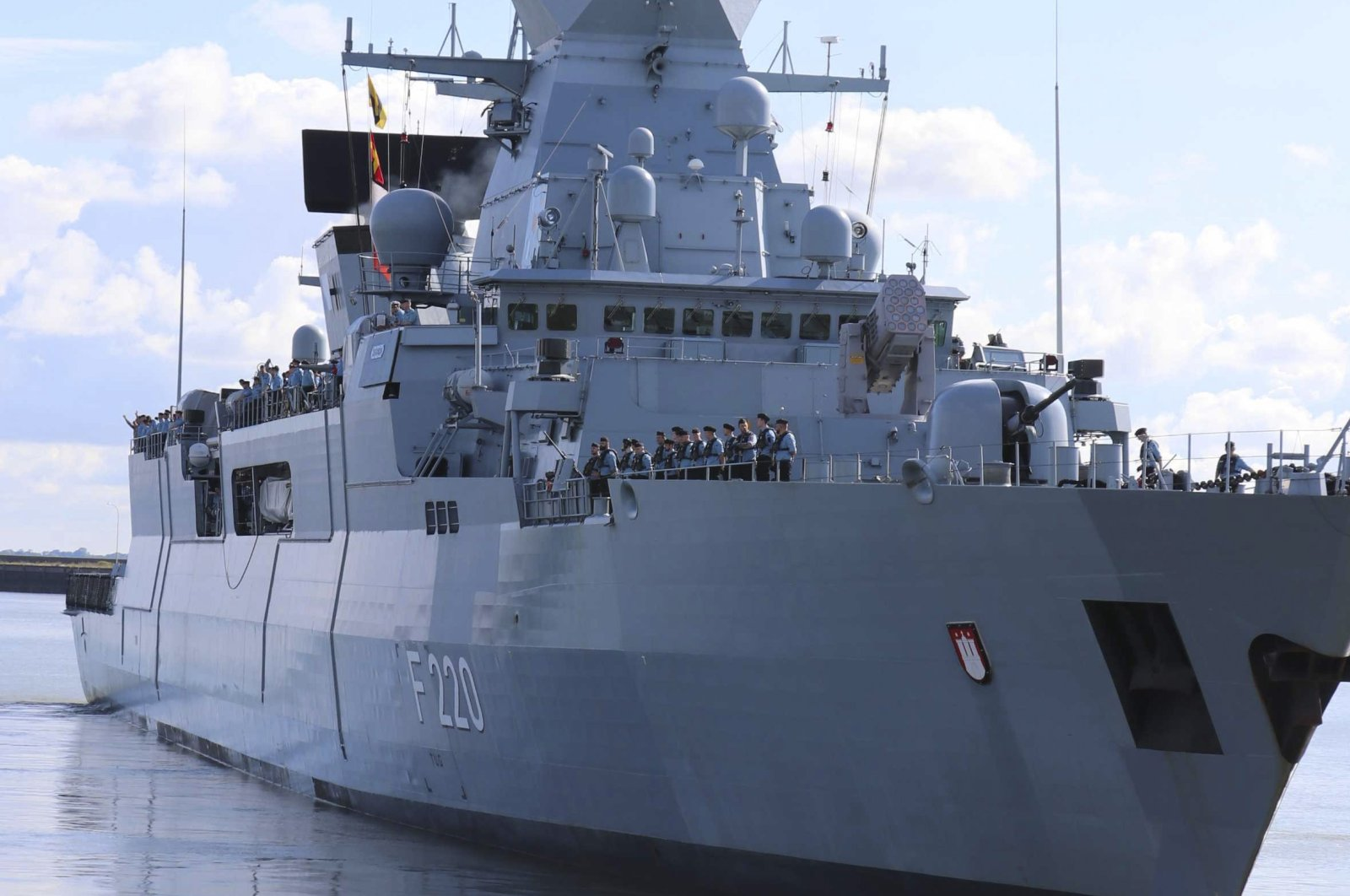 German frigate Hamburg, which is taking part in Operation Irini, on Sept. 11, 2020 (File Photo)