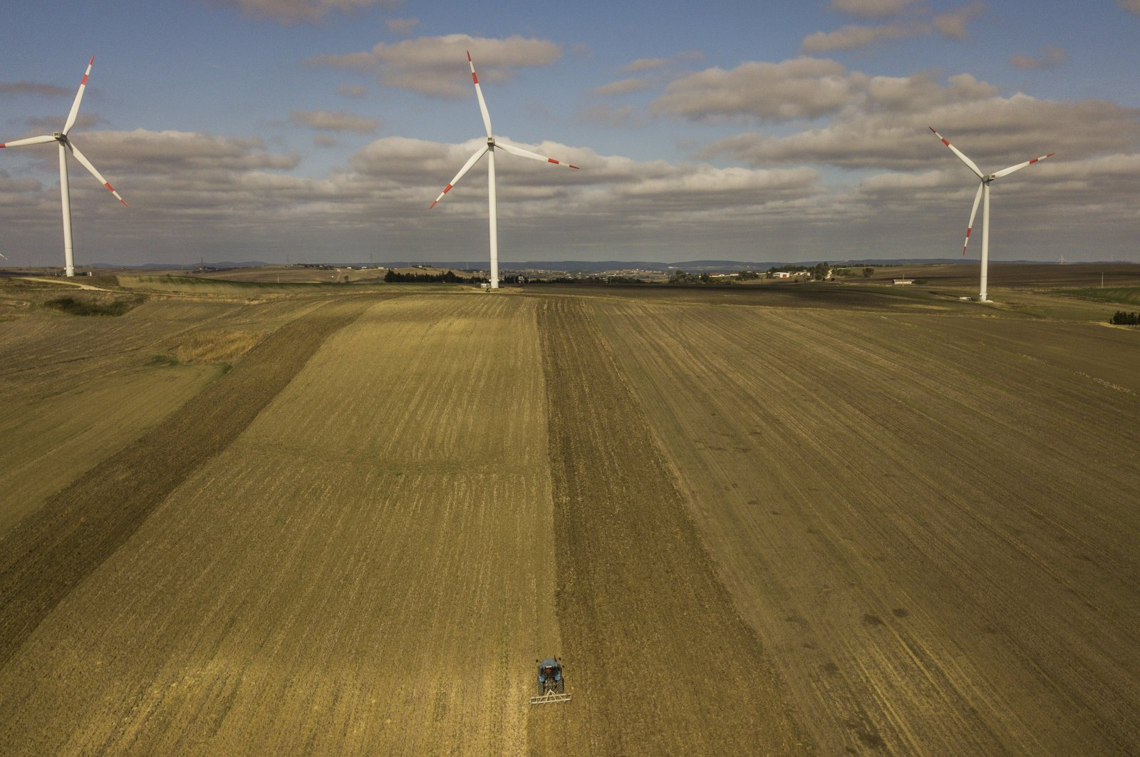 An aerial view taken by a drone shows wind turbines in the countryside of Istanbul, Turkey, Oct. 22, 2020. (EPA Photo)