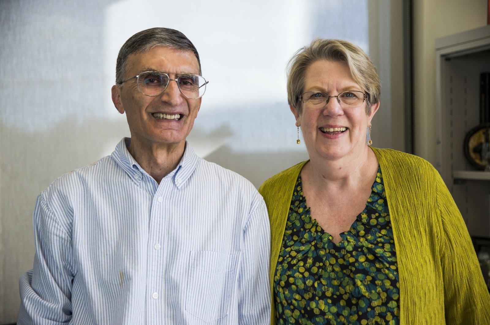 Nobel Prize laureate Aziz Sancar (L) and his wife, Gwen, speak with an Anadolu Agency (AA) correspondent at the University of North Carolina School of Medicine, Chapel Hill, North Carolina, U.S. (AA Photo)