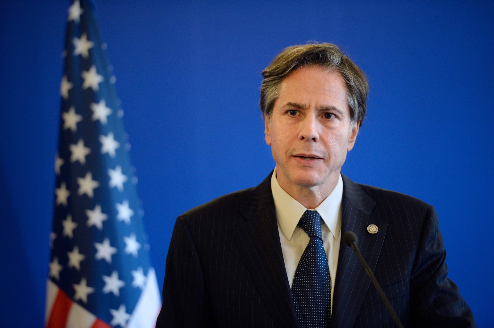 In this file photo former US Deputy Secretary of State Antony J Blinken gives a joint press conference following a meeting with Foreign Affairs member of the anti-Daesh coalition on June 2, 2015 in Paris. (AFP Photo)