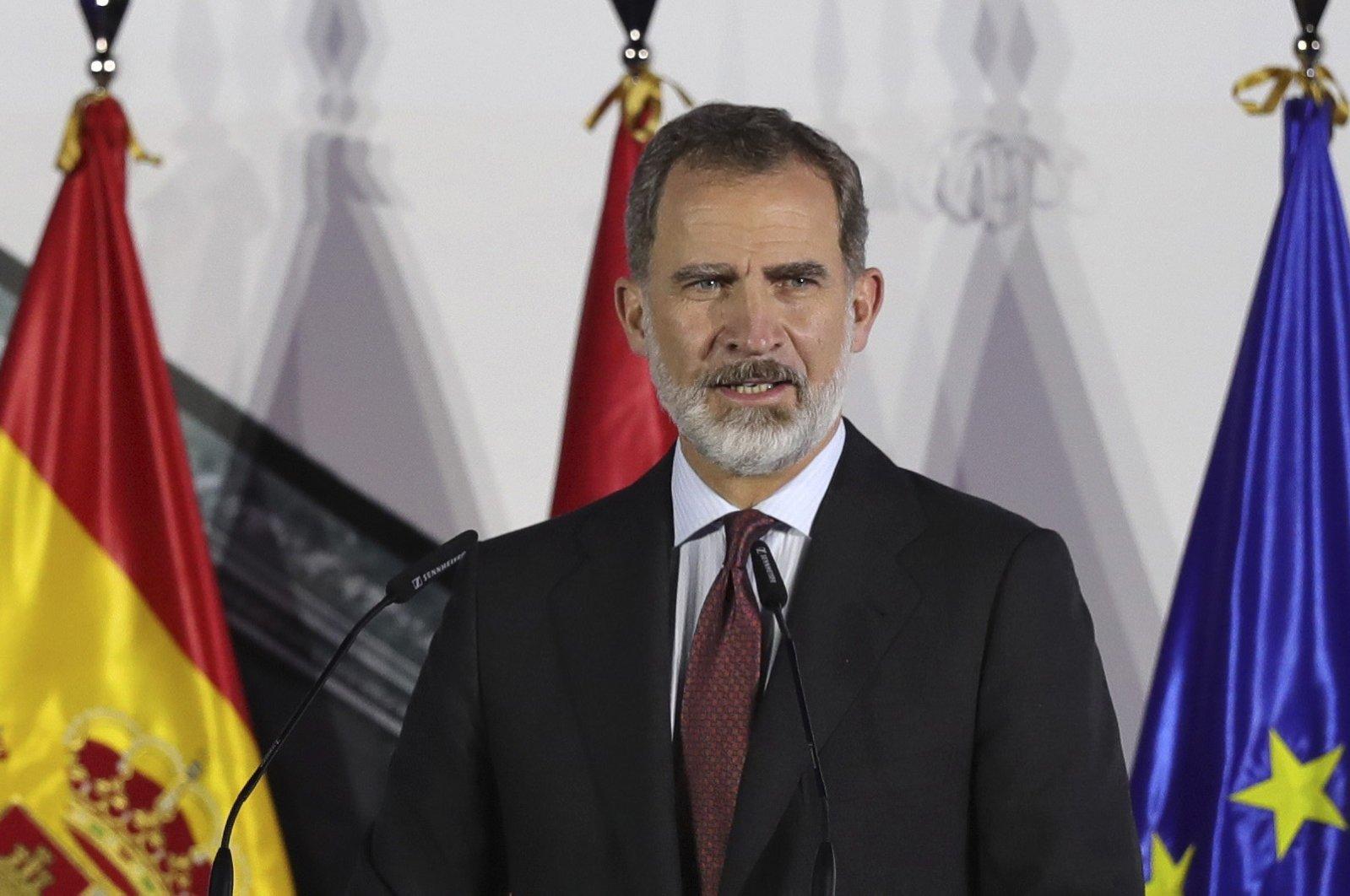 Spain's King Felipe VI delivers a speech at Cibeles Palace in Madrid, Spain, Nov. 19, 2020. (EPA Photo)