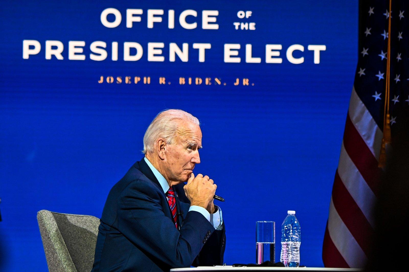 U.S. President-elect Joe Biden participates in a virtual meeting, Wilmington, Delaware, Nov. 23, 2020. (AFP Photo)