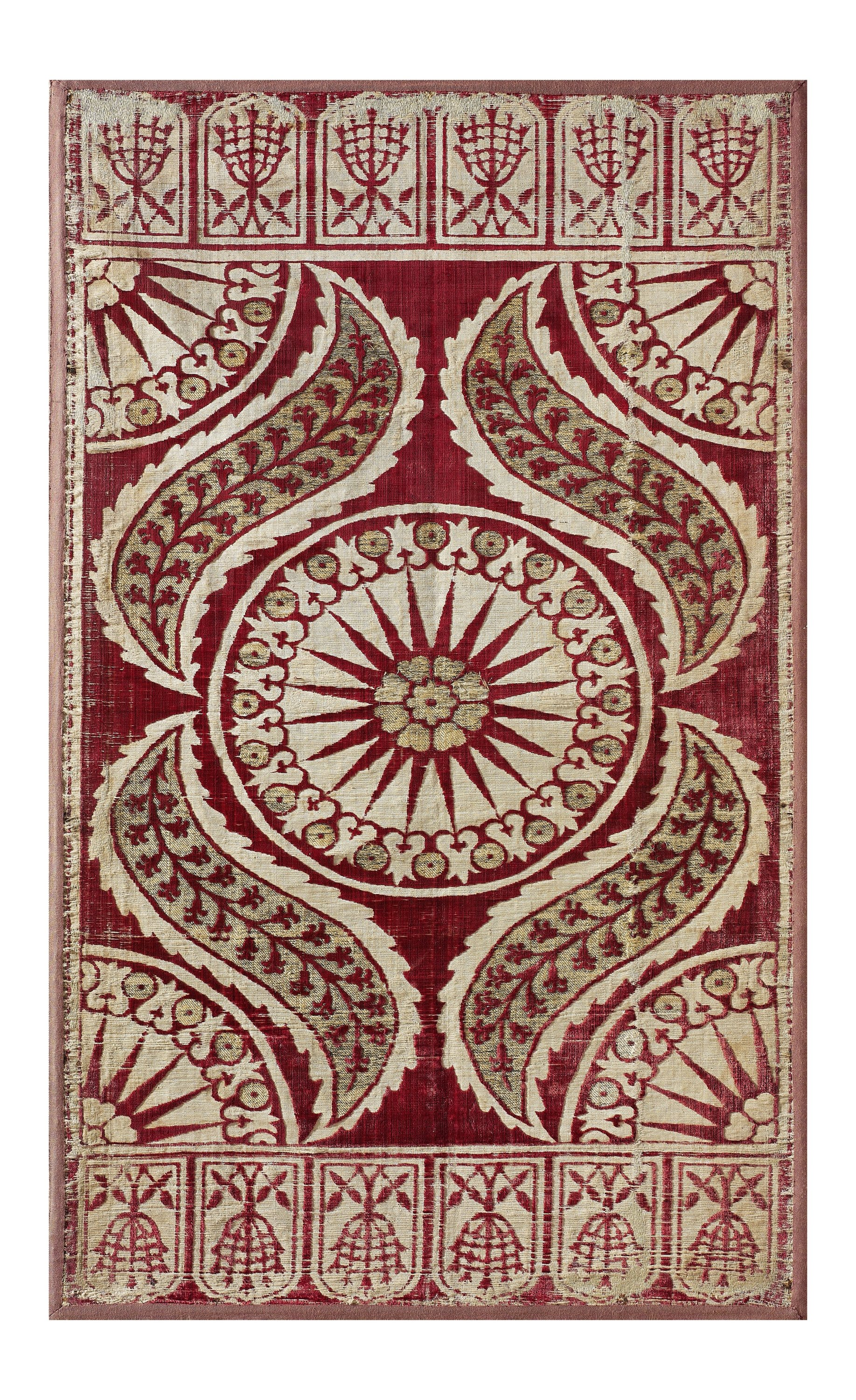 A velvet cushion cover from the 17th-century Ottoman period.
