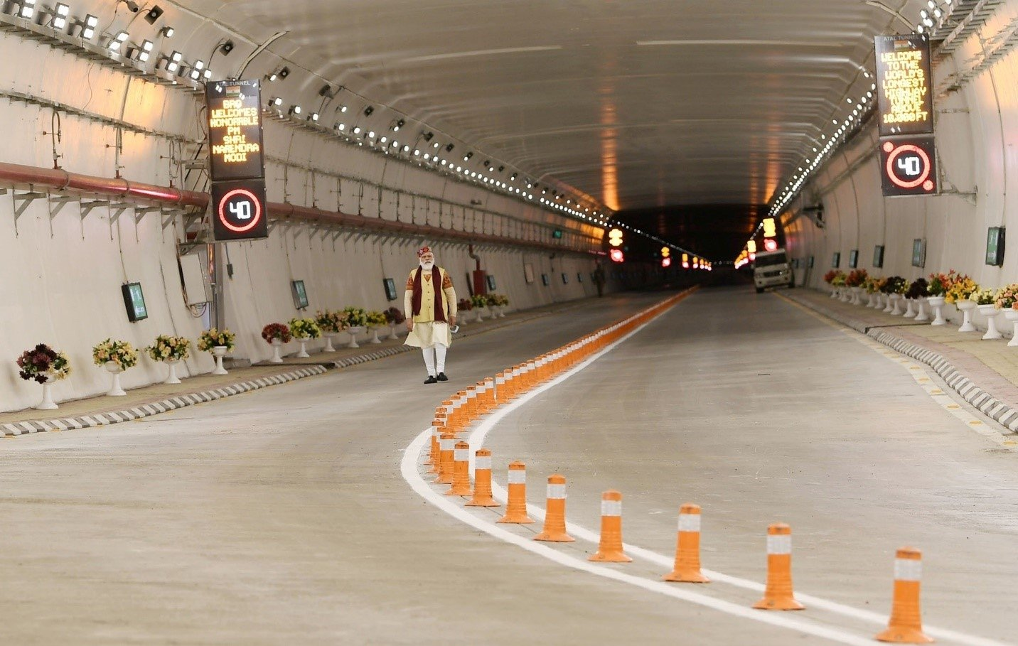 India's Prime Minister Narendra Modi is seen in Atal Tunnel, Manali, Himachal Pradesh, India, Oct. 3, 2020. (AA Photo)
