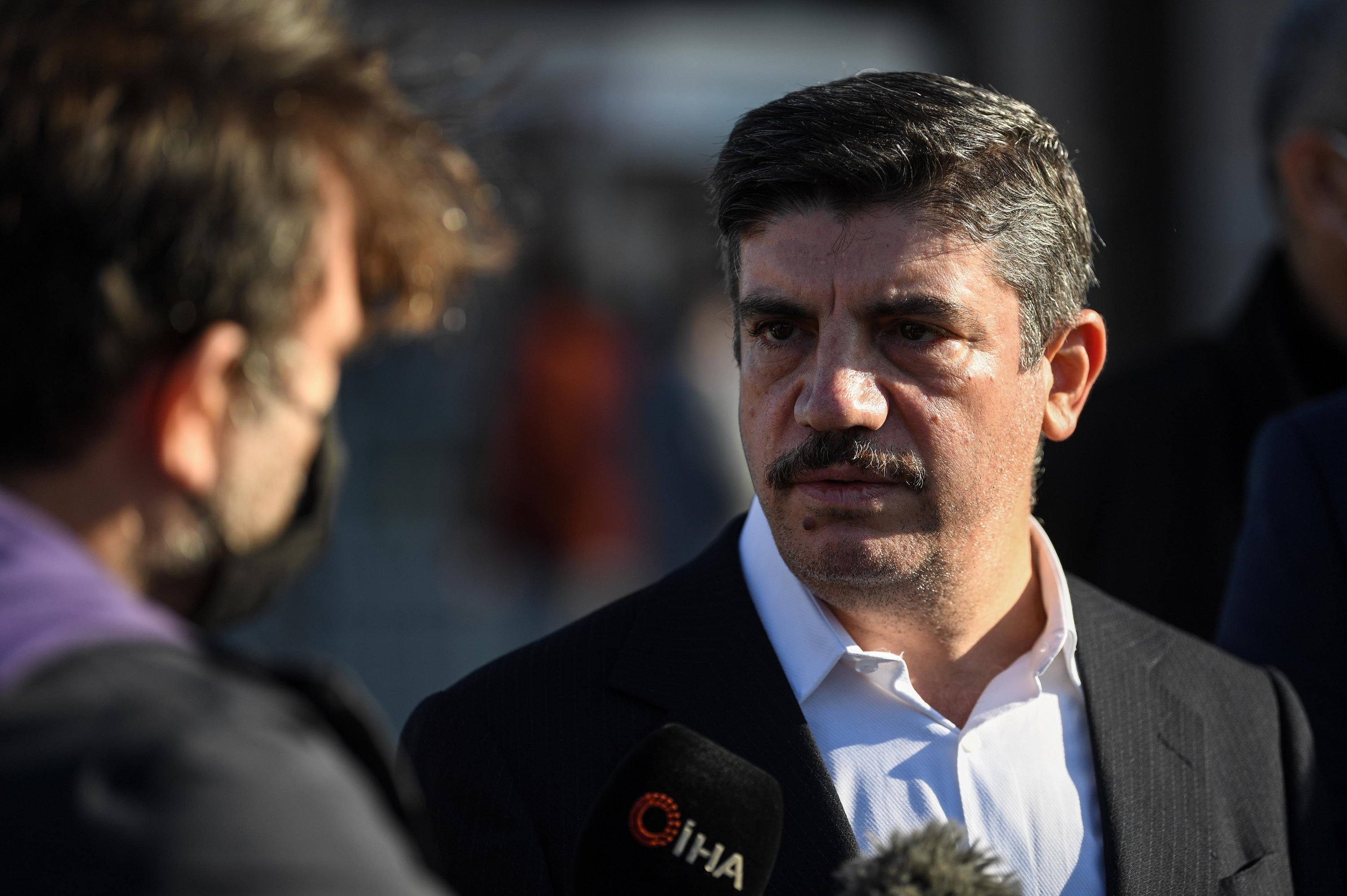 Yasin Aktay, a ruling Justice and Development Party (AK Party) member of Parliament and head of the Turkish group of the Inter-Parliamentary Union, speaks to media members in front of an Istanbul courthouse, Turkey, Nov. 24, 2020. (AFP Photo)