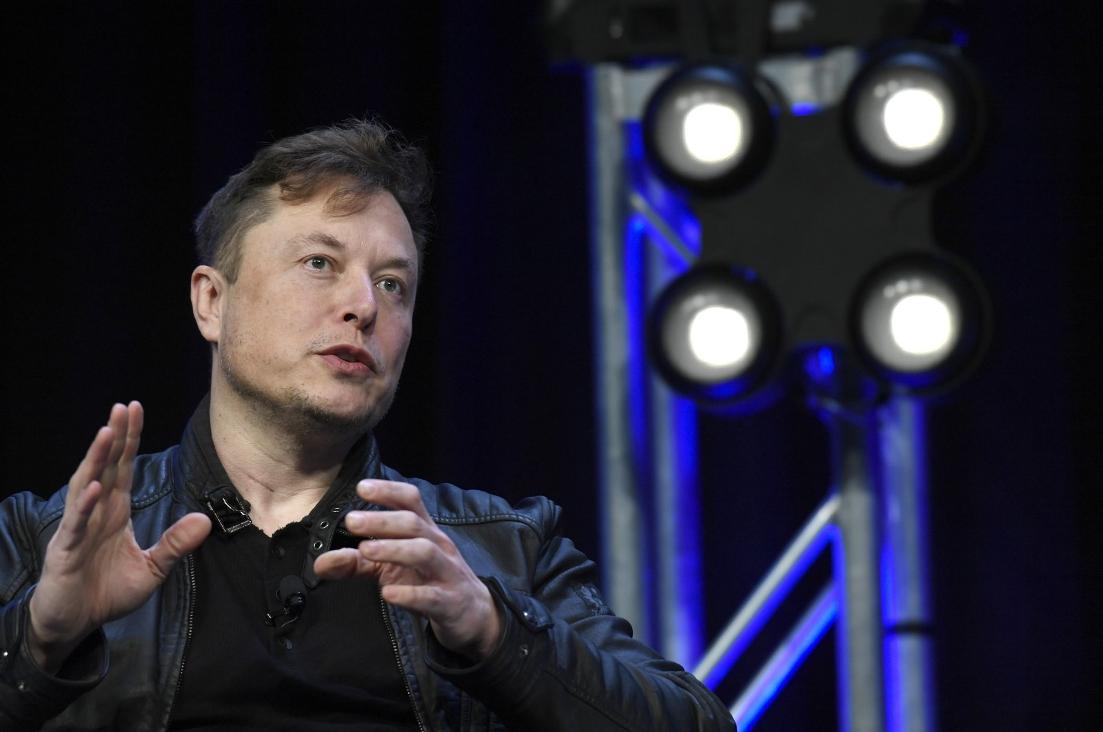 Tesla and SpaceX Chief Executive Officer Elon Musk speaks at the SATELLITE Conference and Exhibition in Washington, March 9, 2020. (AP Photo)