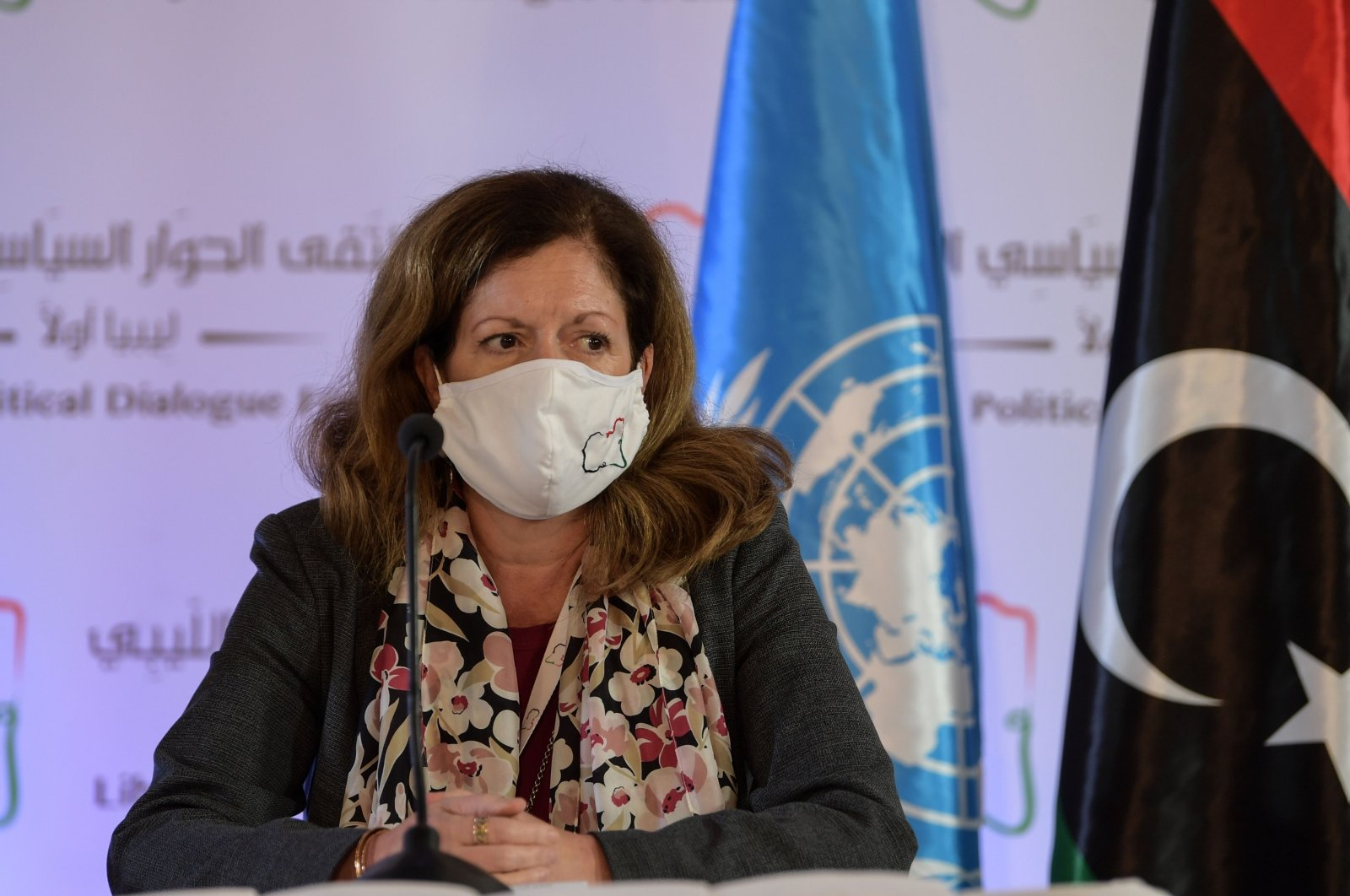 United Nations acting envoy to Libya Stephanie Williams wears a mask before giving a press conference following two days of talks on the Libyan conflict in the capital Tunis, Tunisia, Nov. 11, 2020. (AFP Photo)