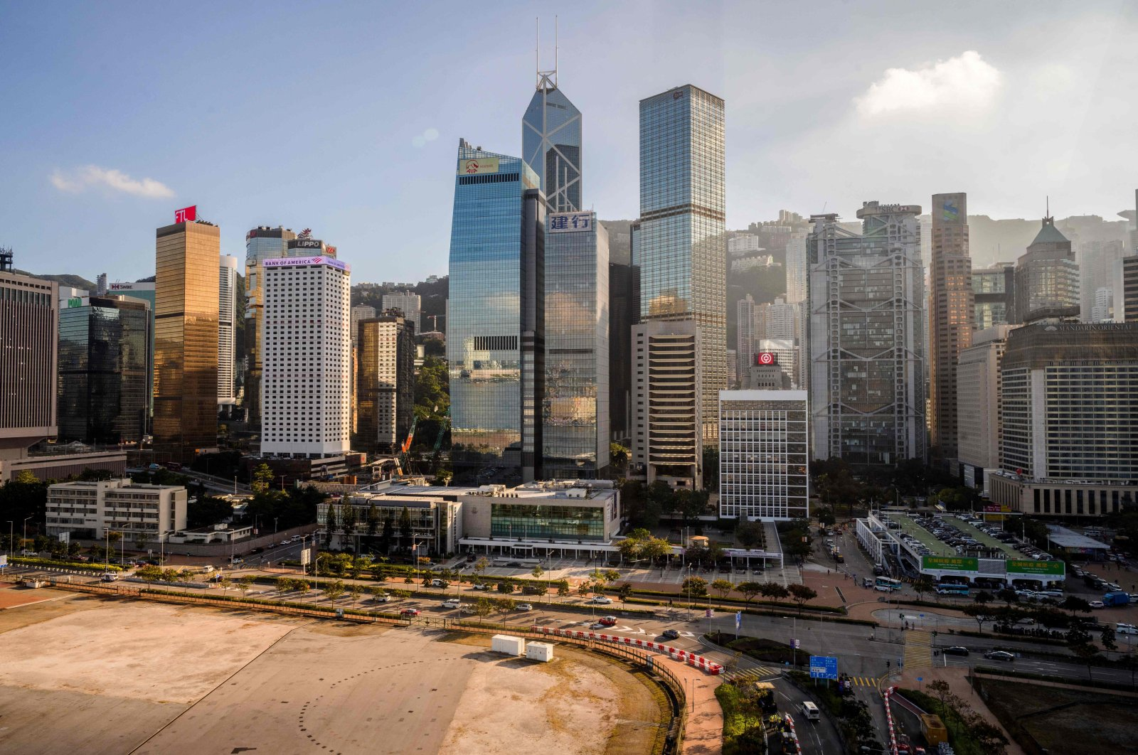 A general view shows commercial buildings in Hong Kong on November 19, 2020. (AFP Photo)