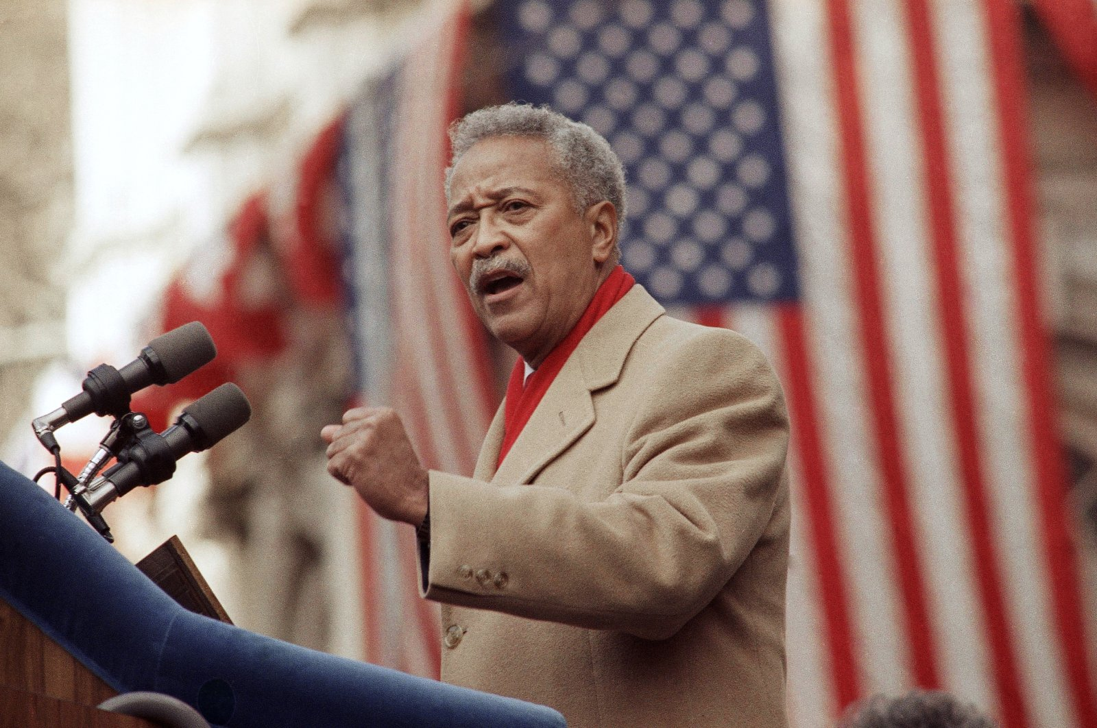 David Dinkins delivers his first speech as mayor of New York, in New York City, Jan. 2, 1990. (AP Photo)