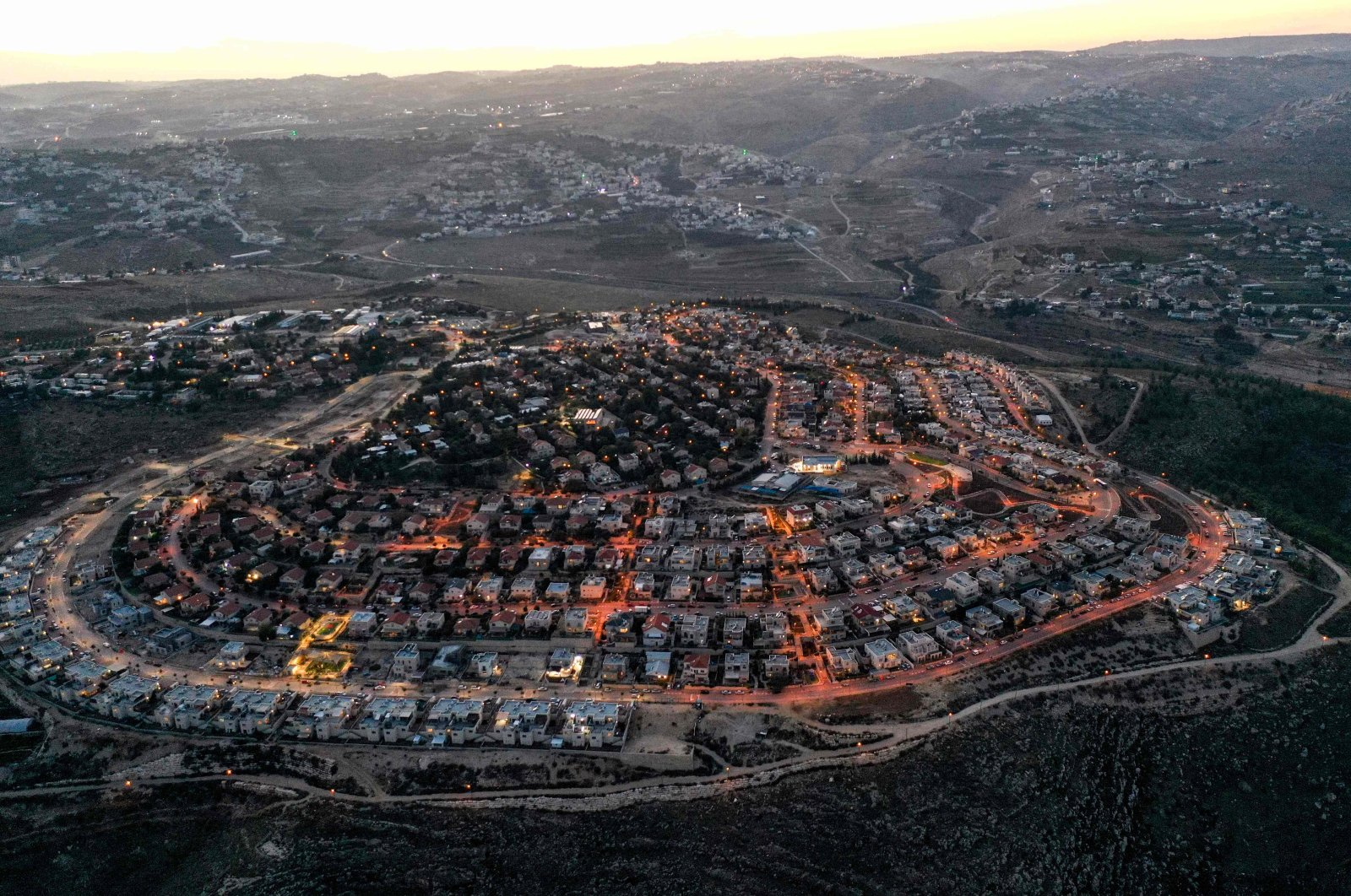 An aerial view of the Israeli settlement of Tekoa in the occupied West Bank, south of Bethlehem, Palestine, Nov. 17, 2020. (AFP Photo)