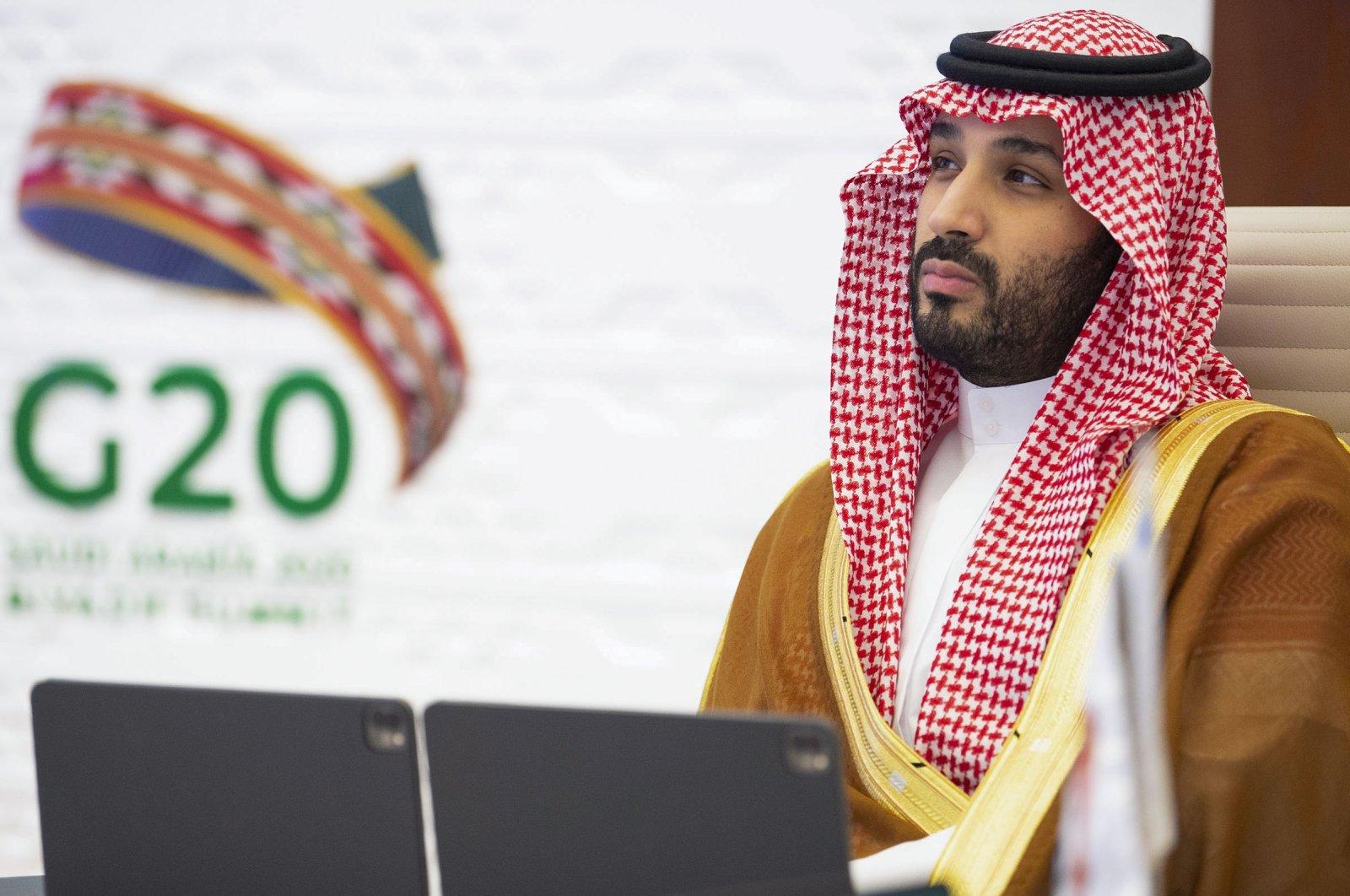 A handout picture provided by the Saudi Royal Palace on Nov. 21, 2020, shows Saudi Crown Prince Mohammed bin Salman attending the G20 summit, held virtually due to the COVID-19 coronavirus pandemic, in the capital Riyadh. (Bandar Al-Jaloud/ Saudi Royal Palace via AFP)
