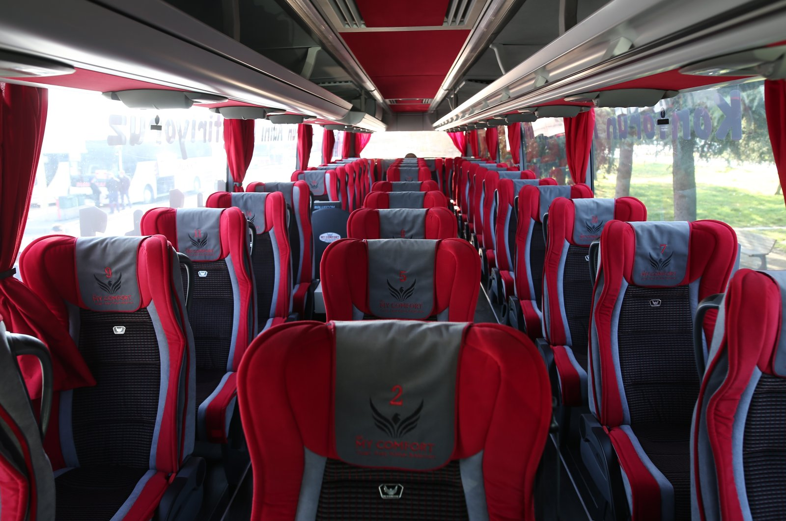 An internal view of the bus, in Bursa, northwestern Turkey, Nov. 24, 2020. (İHA Photo)