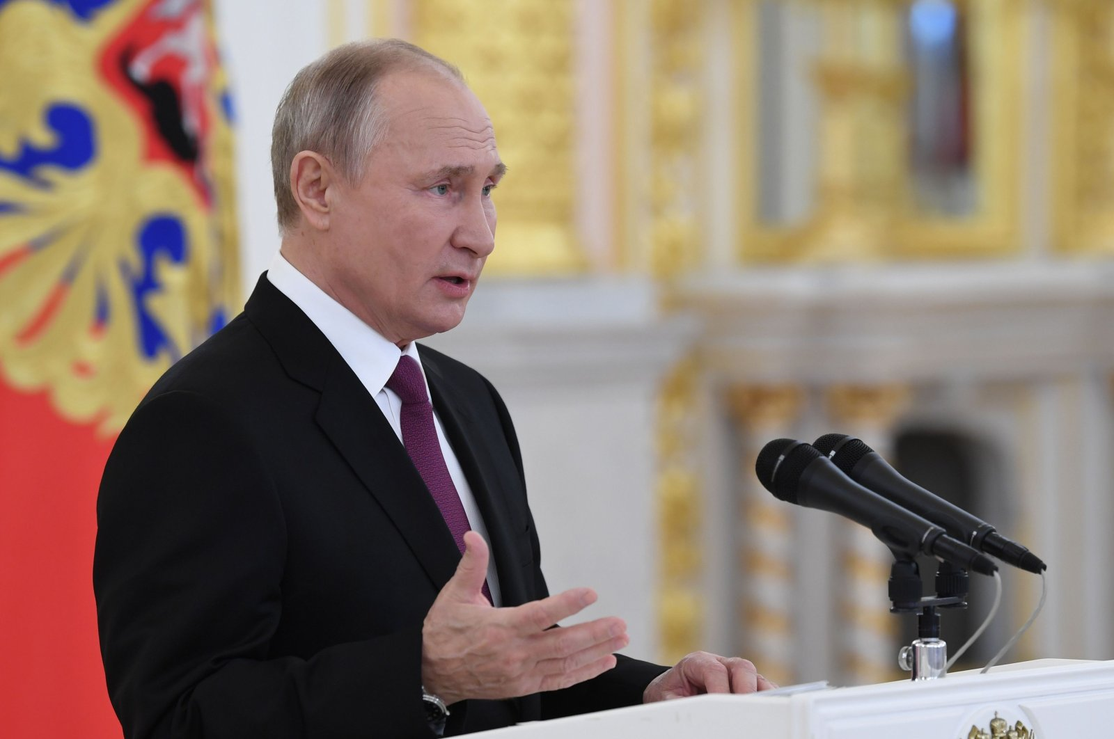 Russian President Vladimir Putin delivers a speech during a ceremony to receive credentials from foreign ambassadors at the Moscow Kremlin's Alexander Hall, in Moscow, on Nov. 24, 2020. (AFP Photo)