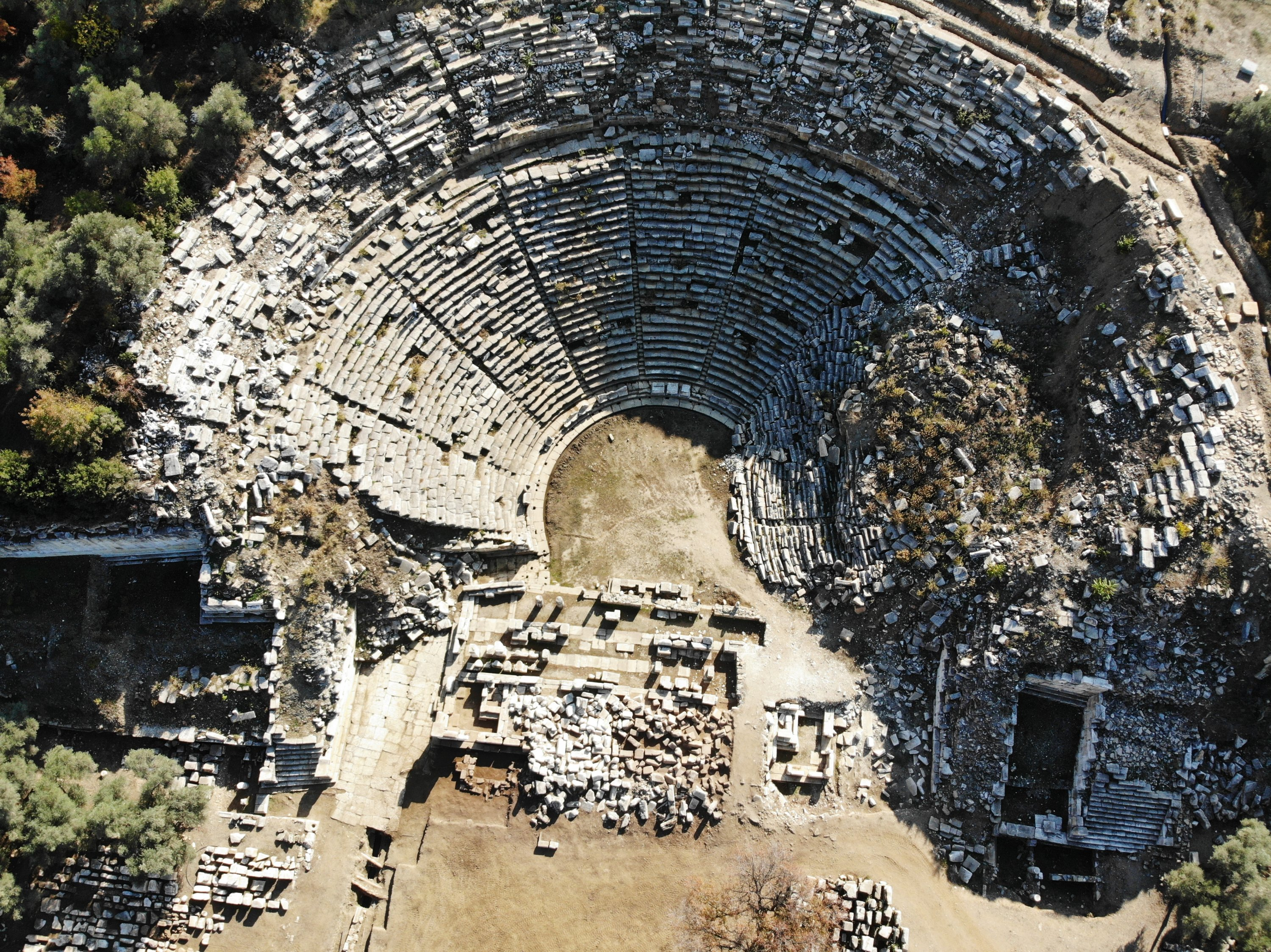 An aerial view from the 2,200-year-old theater in the ancient city of Stratonikeia, Muğla, southwestern Turkey, Nov. 24, 2020. (AA PHOTO)