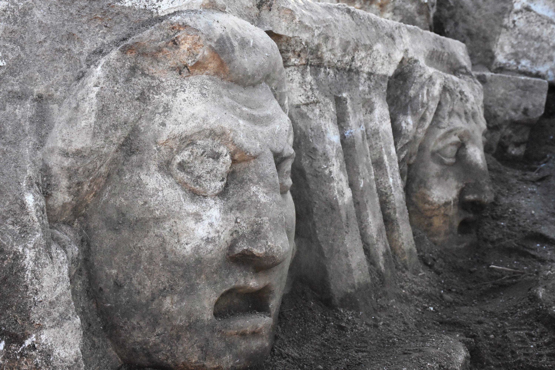 Two masks in the ancient city of Stratonikeia, Muğla, southwestern Turkey, Nov. 24, 2020. (AA PHOTO)