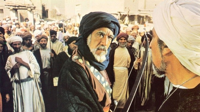Actor Anthony Quinn as Prophet Muhammad's uncle Hamza in a scene from