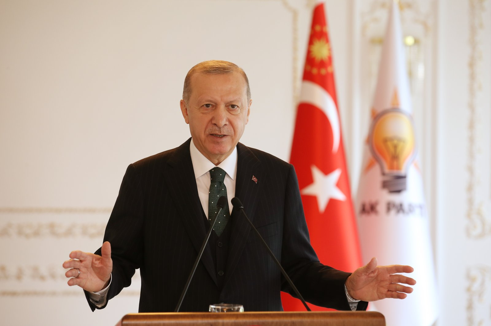 President Recep Tayyip Erdoğan speaks via videoconference to ruling Justice and Development Party (AK Party) members from the Vahdettin Pavilion, Istanbul, Turkey, Nov. 22, 2020. (AP Photo)