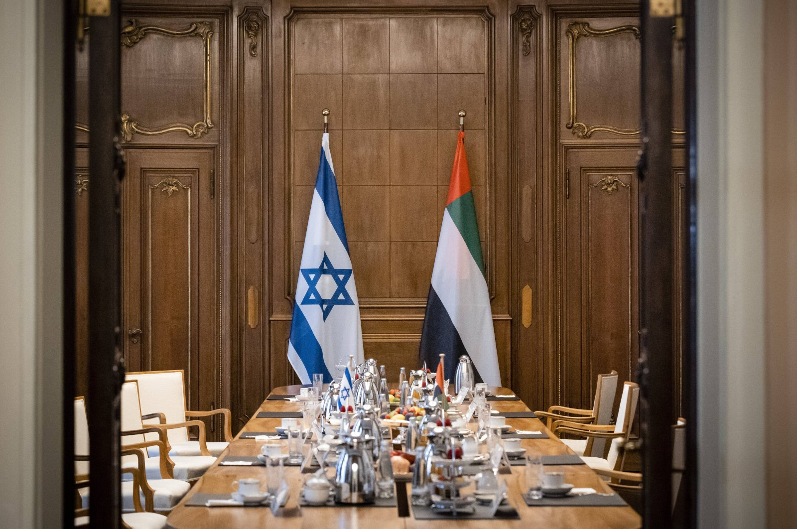 A table prepared ahead of a news conference by UAE Foreign Minister Abdullah bin Zayed al-Nahyan, Israeli Foreign Minister Gabriel Ashkenazi and German Foreign Minister Heiko Maas is seen in Berlin, Germany, Oct. 6, 2020. (Reuters Photo)
