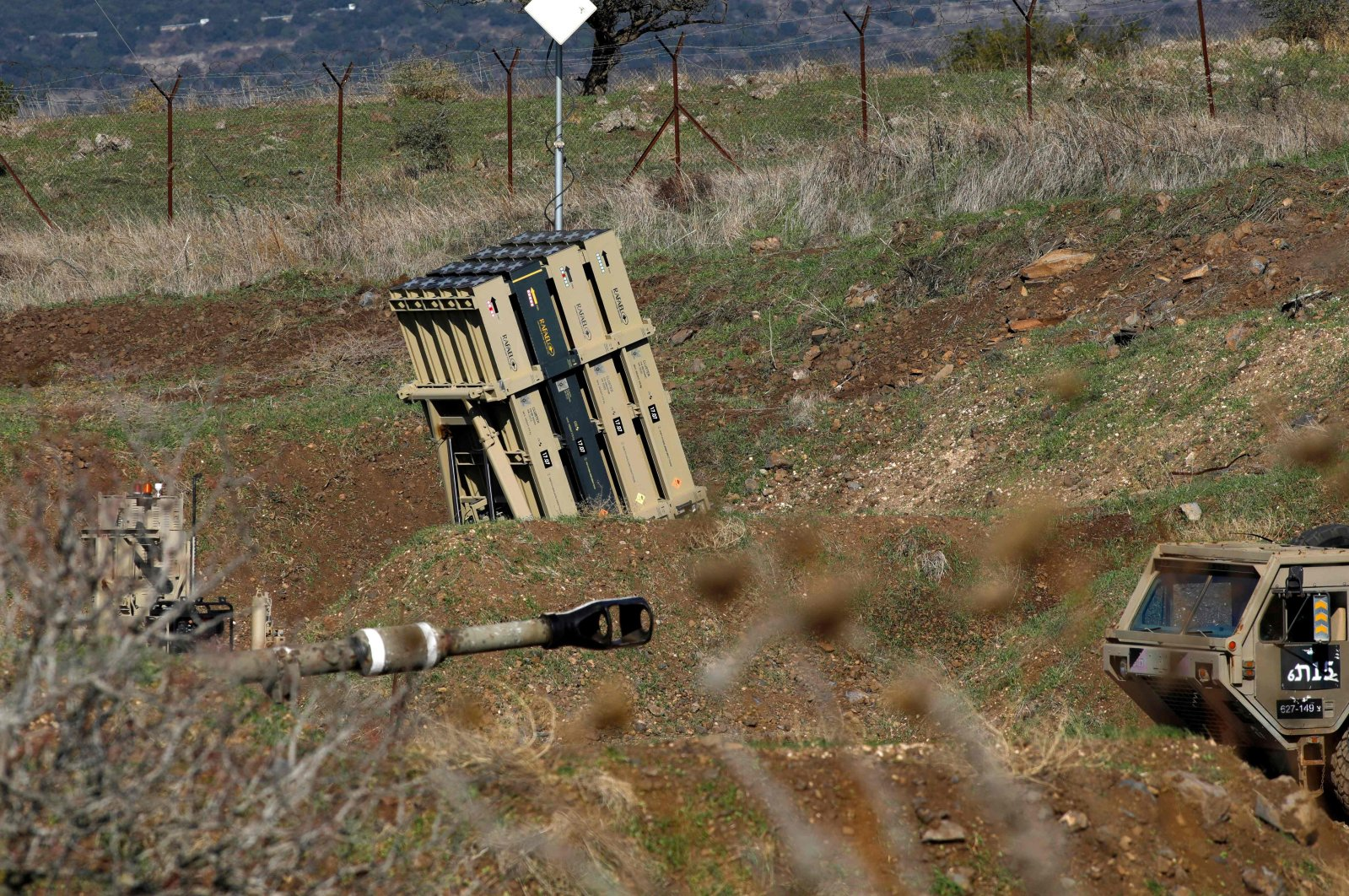 A battery of Israel's Iron Dome, designed to intercept and destroy incoming short-range rockets and artillery shells, is pictured in the Israeli-annexed Golan Heights near the border with Syria, on Nov. 18, 2020. (AFP Photo)