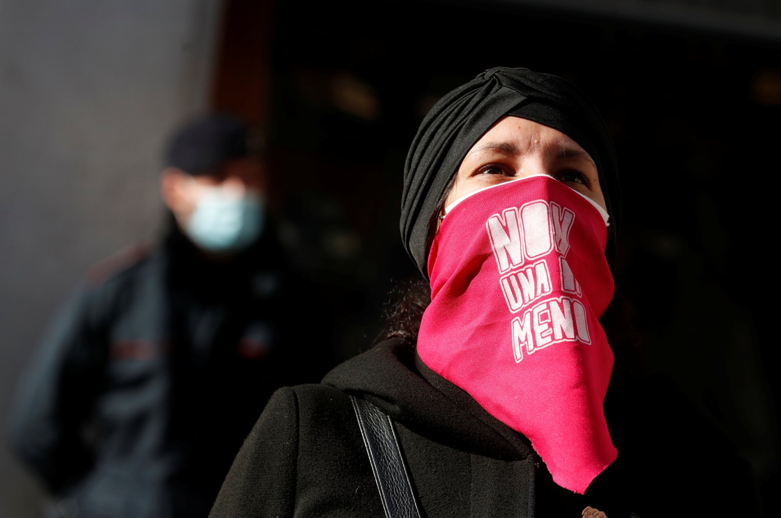A woman attends a demonstration to mark the International Day for the Elimination of Violence against Women, in Rome, Italy, Nov. 25, 2020. (Reuters Photo)