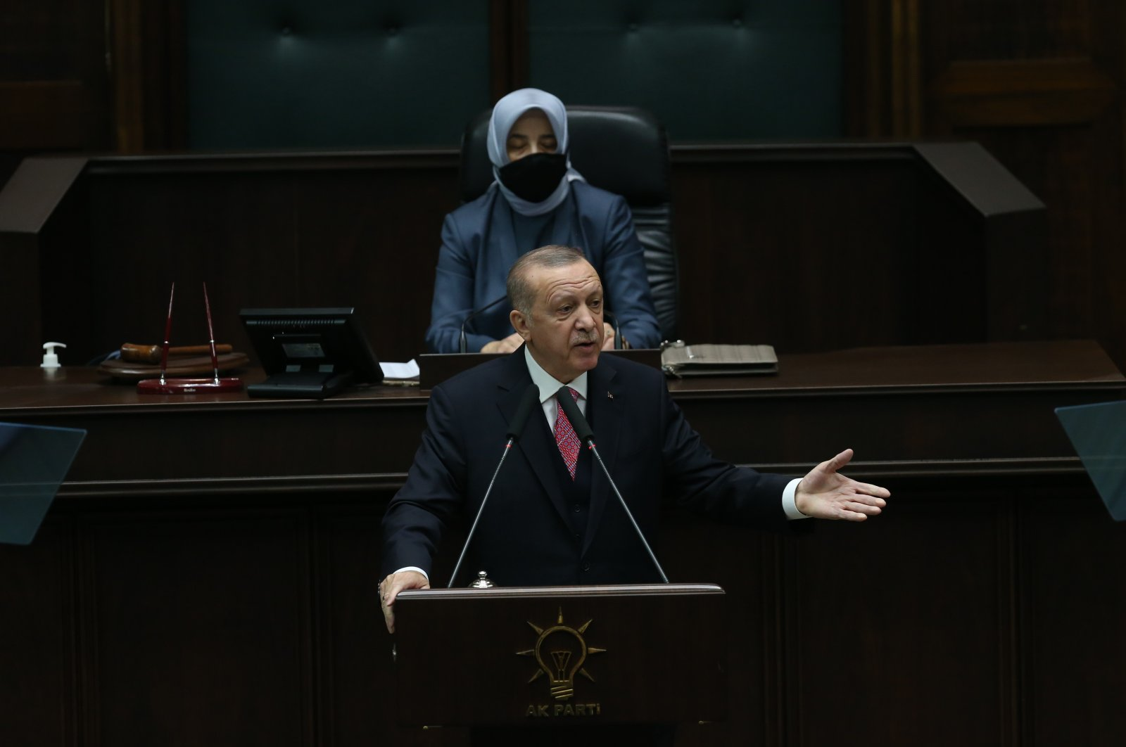 President Recep Tayyip Erdoğan addresses party members in the ruling Justice and Development Party's (AK Party) parliamentary group meeting in the capital Ankara, Turkey, Nov. 25, 2020. (IHA Photo)