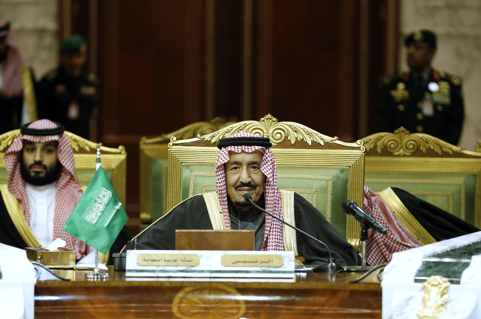 Saudi King Salman accompanied by Saudi Crown Prince Mohammed bin Salman (MBS) (L) chairs the 40th Gulf Cooperation Council (GCC) summit in Riyadh, Saudi Arabia, Dec. 10, 2019. (AP Photo)
