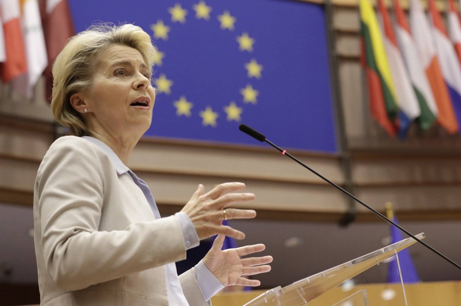 European Commission President Ursula von der Leyen speaks during a plenary session at the European Parliament in Brussels, Nov. 25, 2020. (AP Photo)