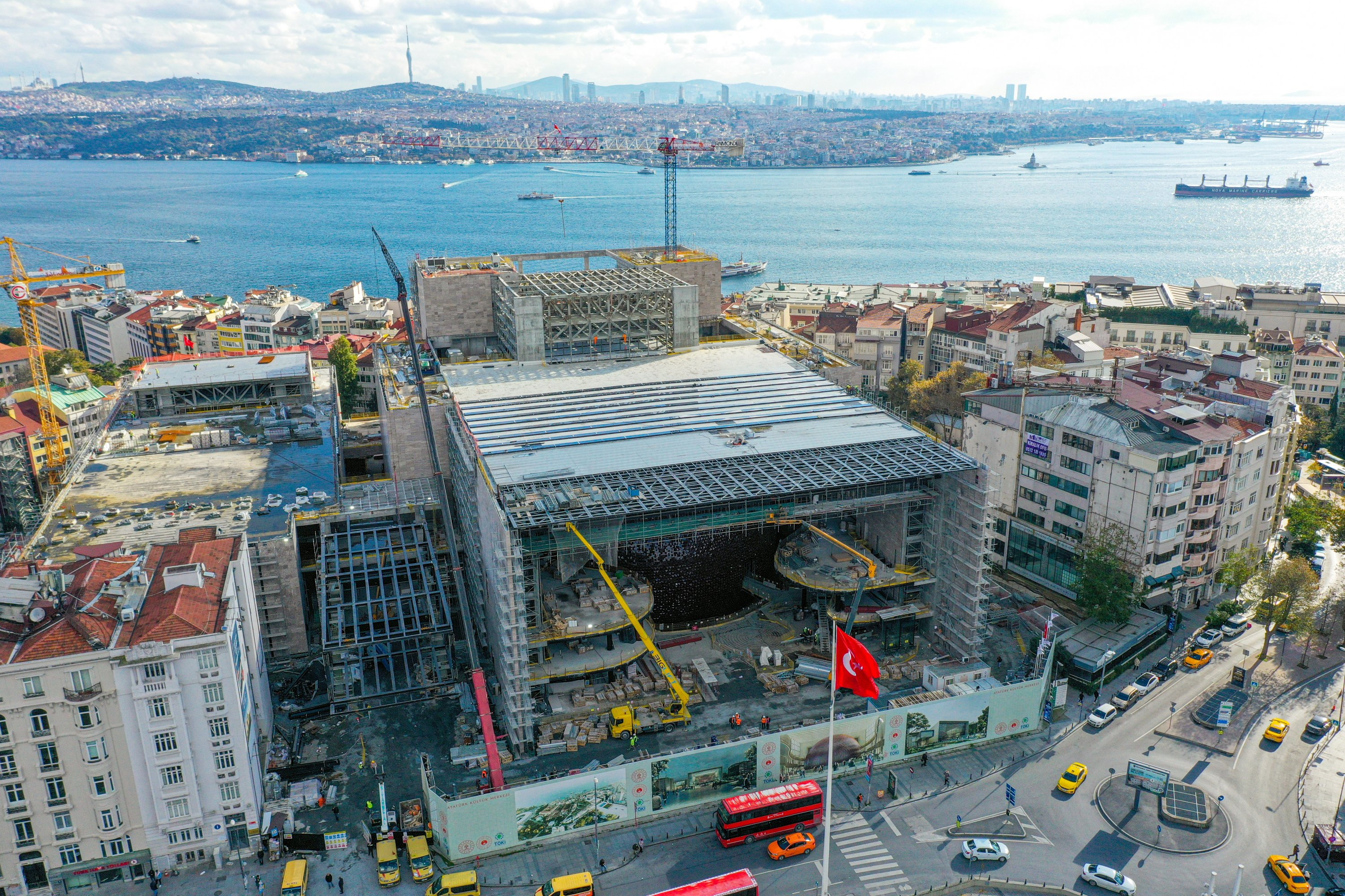 A photo from the construction of AKM, Istanbul, Turkey, Nov. 26, 2020. (AA Photo)