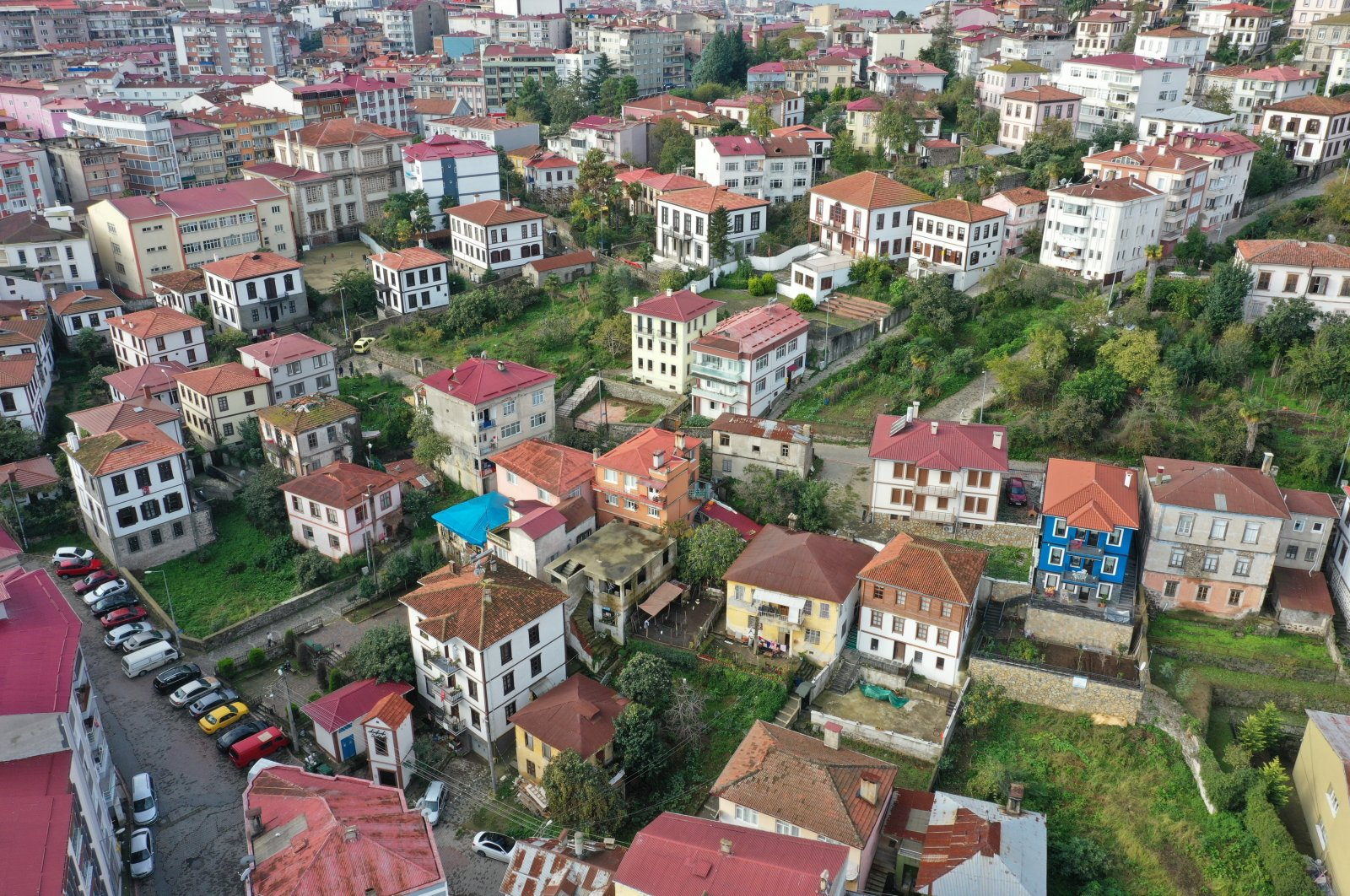 An aerial view from the Zeytinlik neighborhood, Giresun, northern Turkey, Nov. 25, 2020. (IHA Photo)