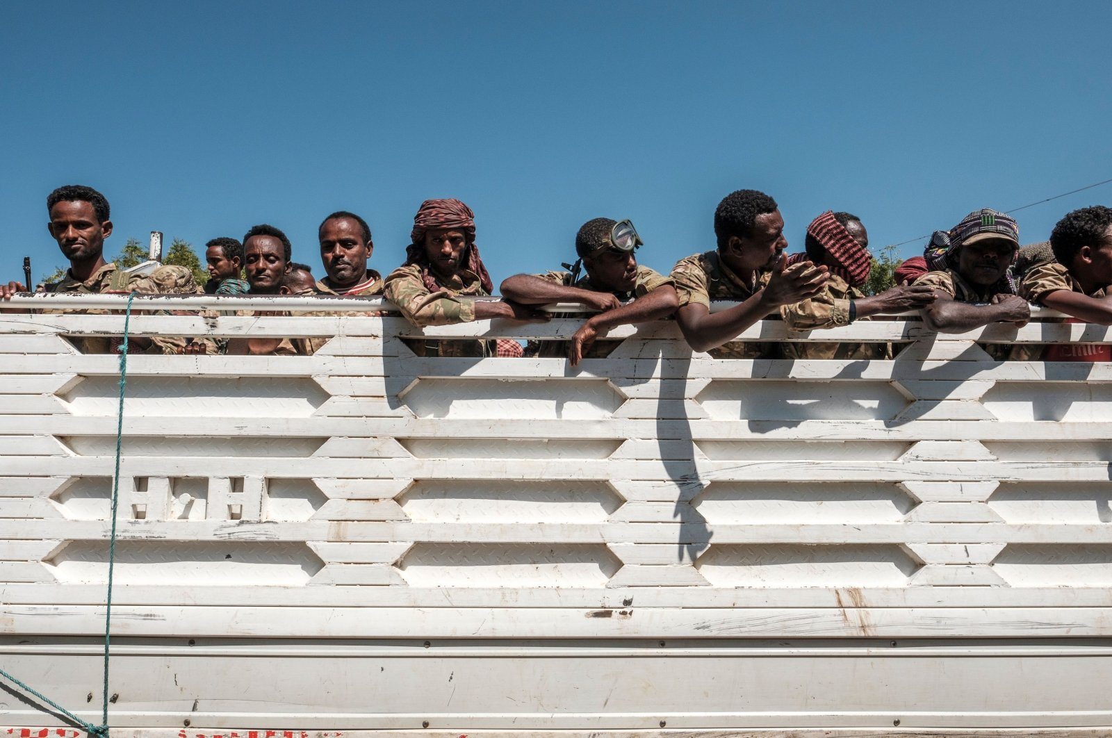 Members of the Amhara special forces look out from the back of a parked truck, Dansha, Ethiopia, Nov. 25, 2020. (AFP Photo)