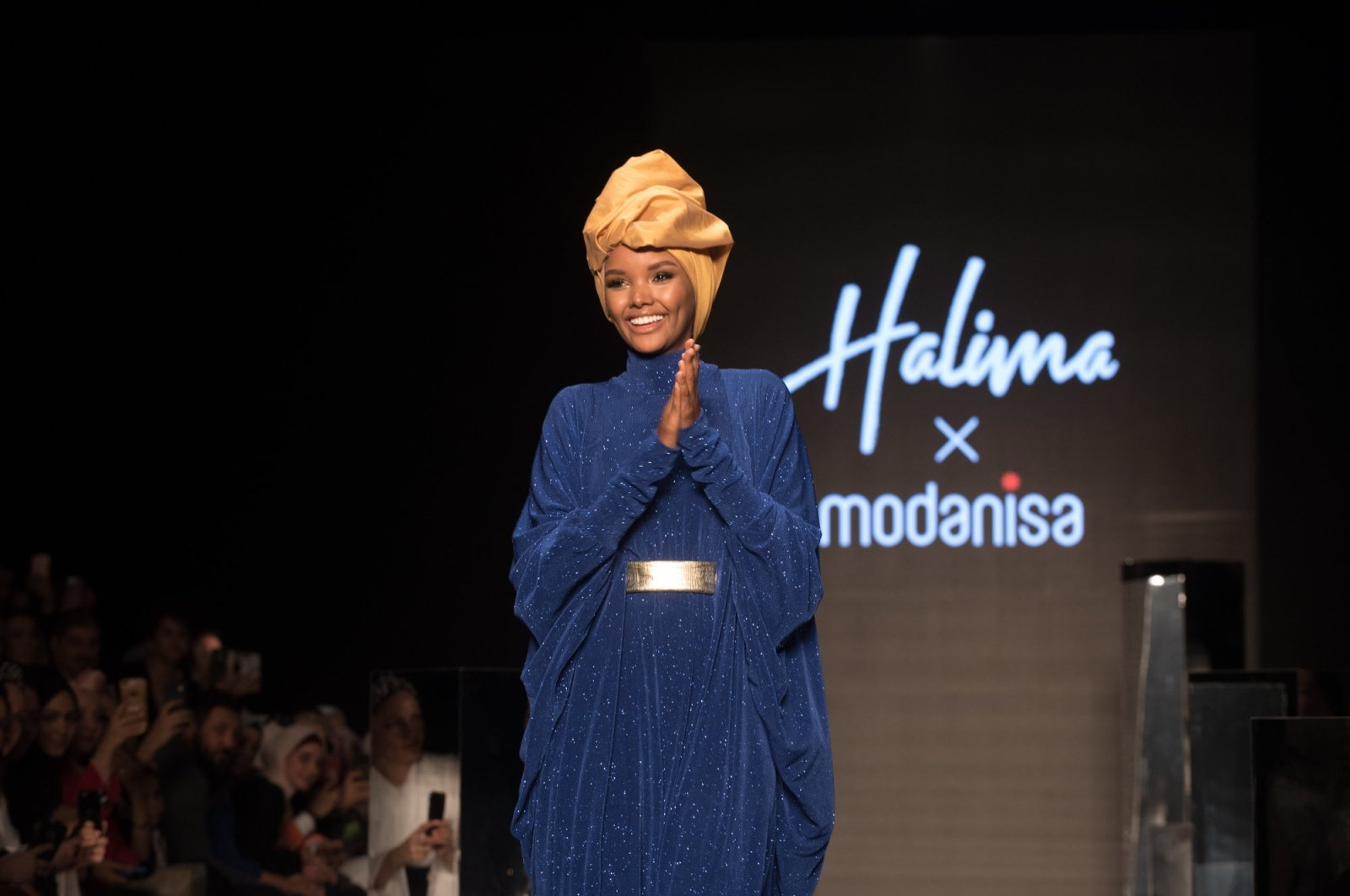 Halima Aden accepts greetings following the show named after her featuring a headscarf collection, Istanbul, April 20, 2019. (FILE Photo)