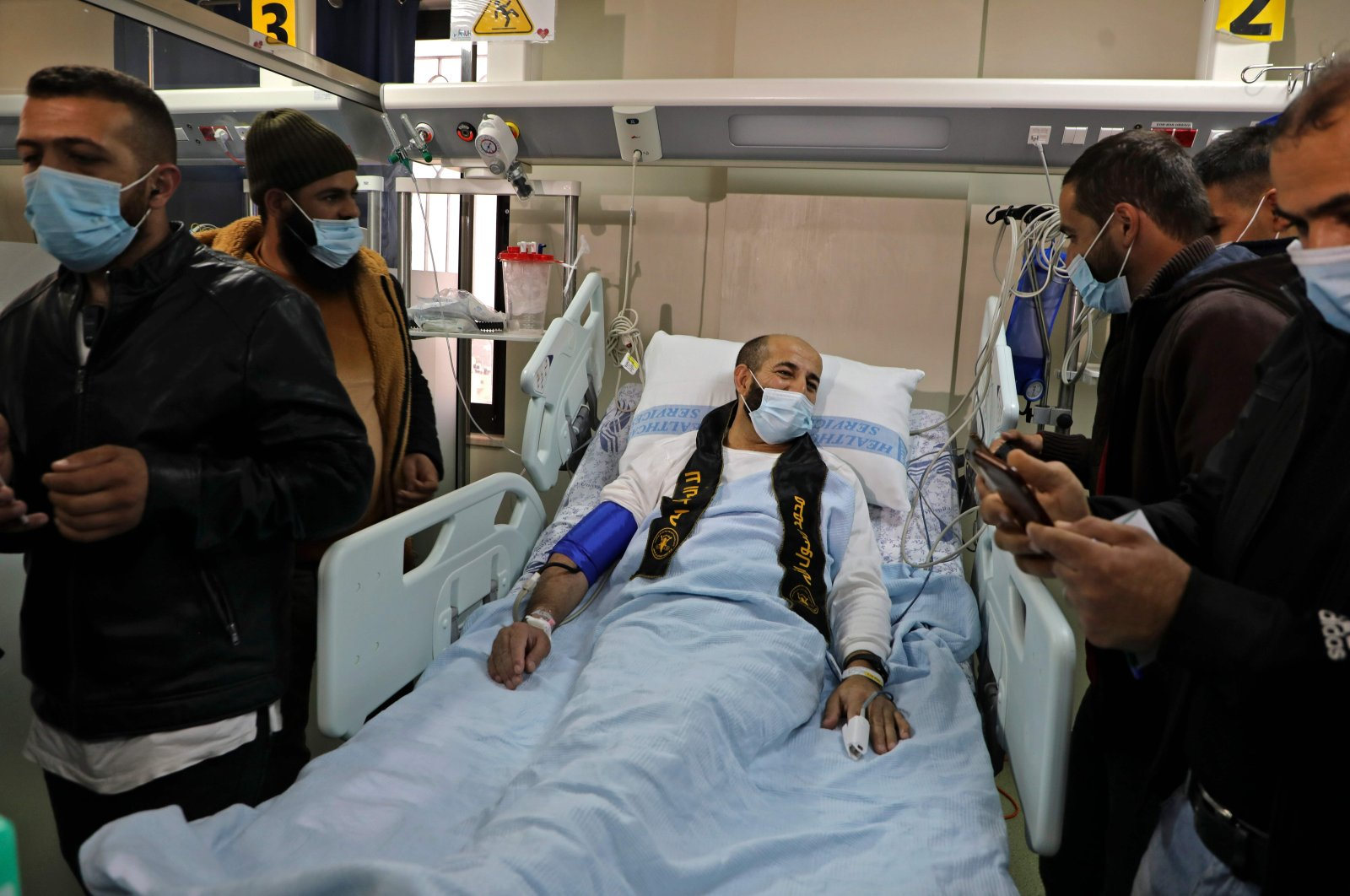 Palestinian detainee Maher al-Akhras arrives at Al-Najah Hospital in the West Bank city of Nablus following his release by Israeli authorities, Palestine, Nov. 26, 2020. (AFP Photo)