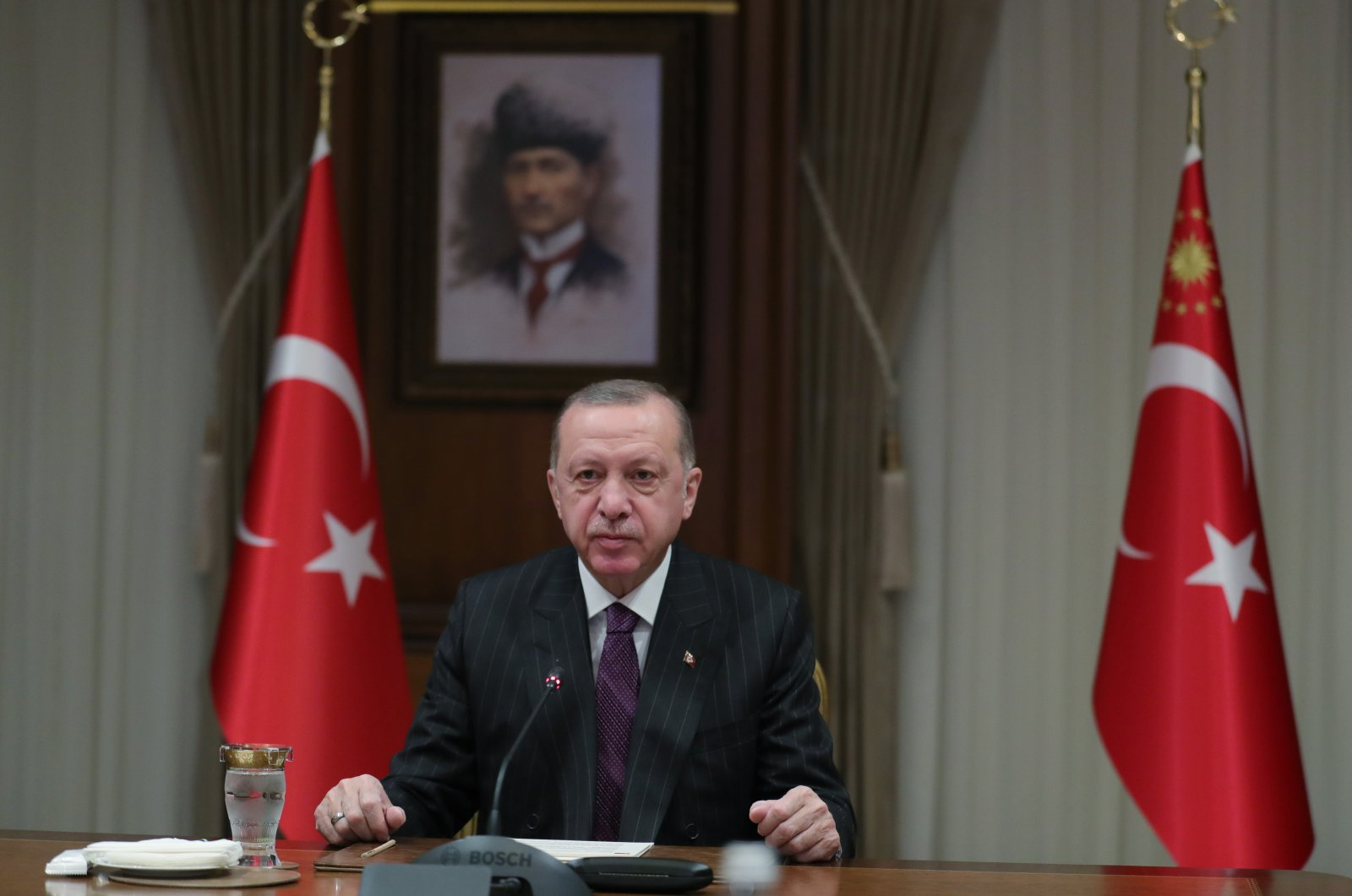"""President Recep Tayyip Erdoğan addresses a virtual meeting themed """"Staying Human in The Digital Age"""" of the 4th Women and Justice Summit organized by the Women and Democracy Association (KADEM), Nov. 26, 2020. (AA Photo)"""