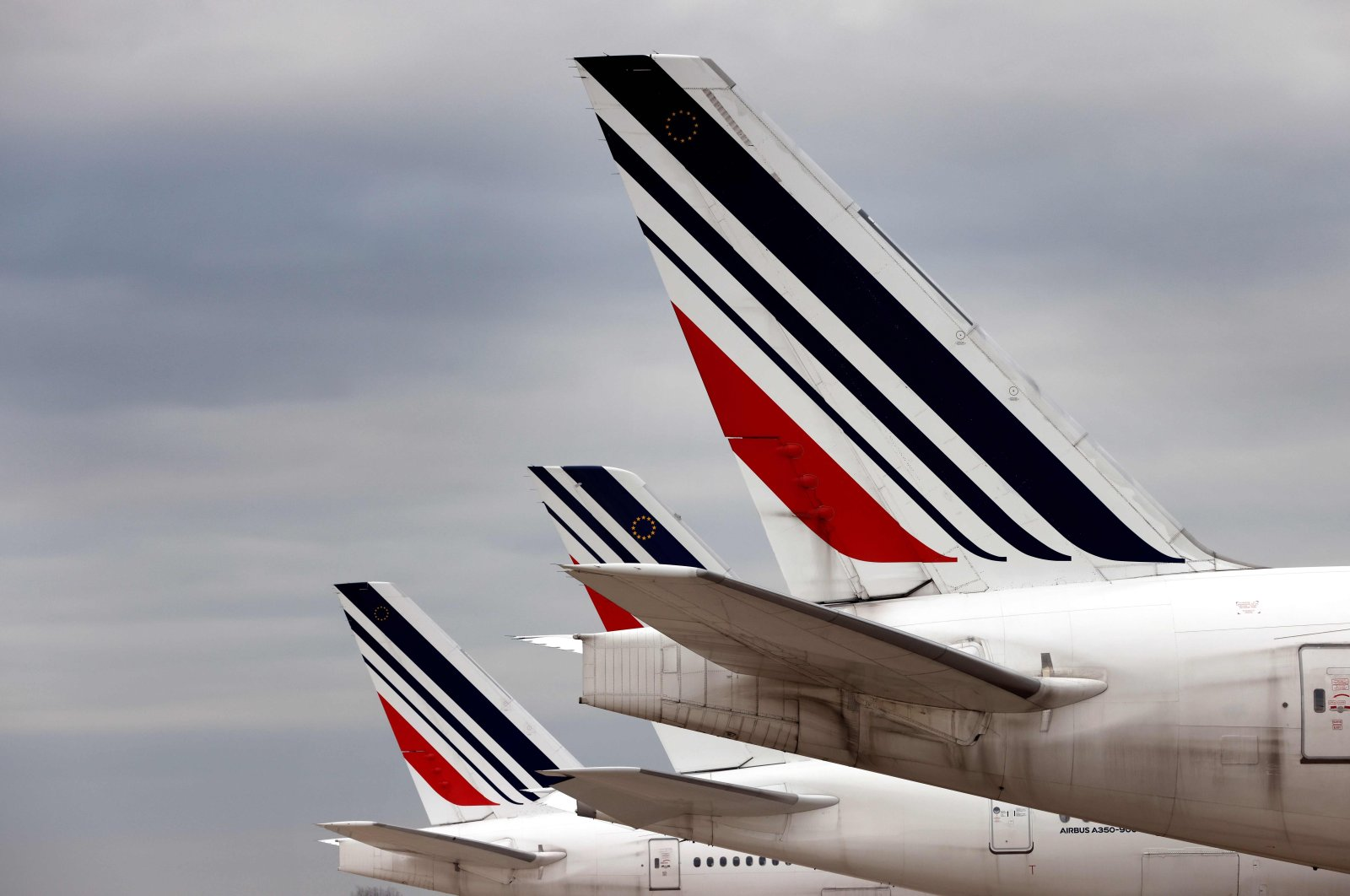 Air France planes are parked in Roissy airport, northern Paris, France, Nov. 25, 2020. (AFP Photo)
