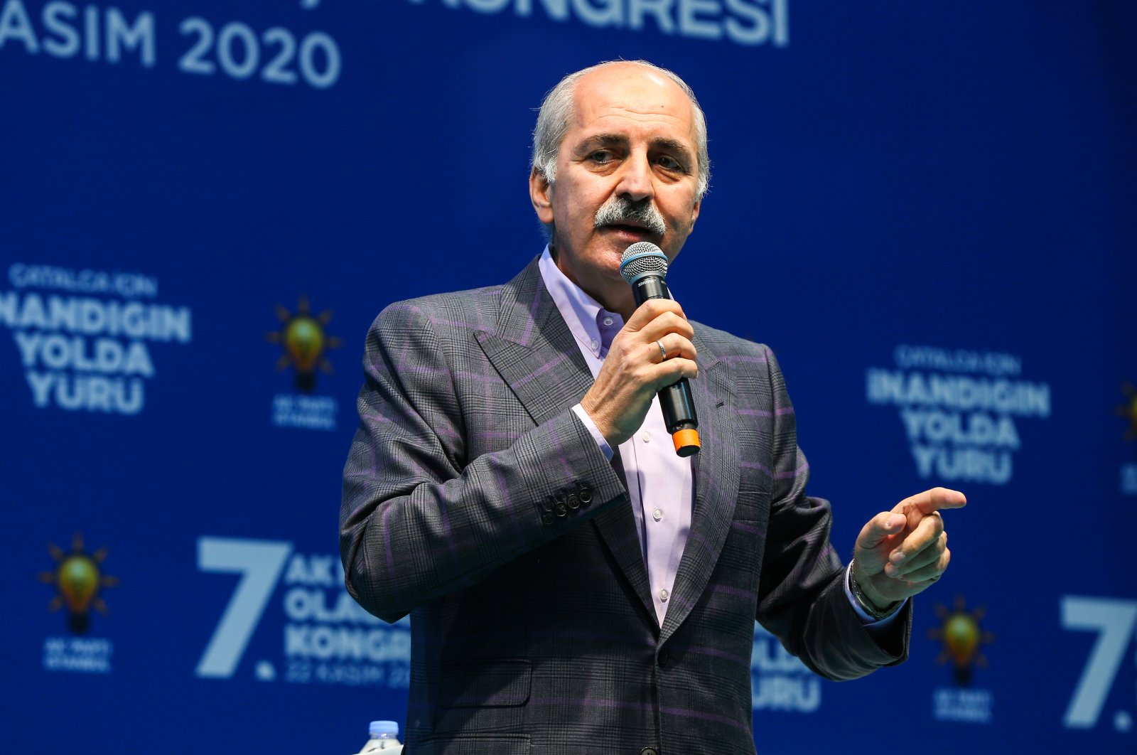 The ruling Justice and Development Party's (AK Party) Chairperson Numan Kurtulmuş speaks at the party's provincial congress in Çatalca, Istanbul, Nov. 22, 2020 (AA Photo)
