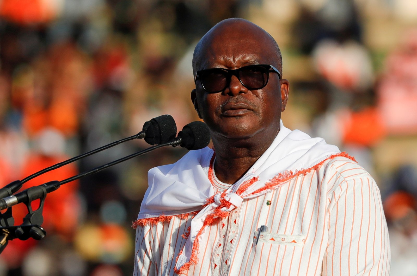 Burkina Faso's President Roch Marc Christian Kabore holds his final campaign rally ahead of the presidential election, in Ouagadougou, Burkina Faso, Nov. 20, 2020. (Reuters Photo)