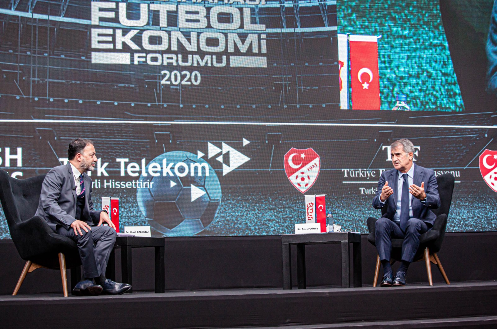 Turkish national team coach Şenol Güneş speaks at the International Football Economy Forum (UFEF), Istanbul, Turkey, Nov. 26, 2020. (Photo by Hatice Çınar)