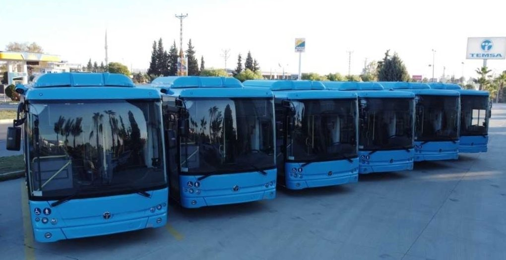 MD9 electriCITY electric vehicles manufactured by Temsa are parked at the company's facilities in Adana, southern Turkey, Nov. 27, 2020. (Photo by Temsa via AA)