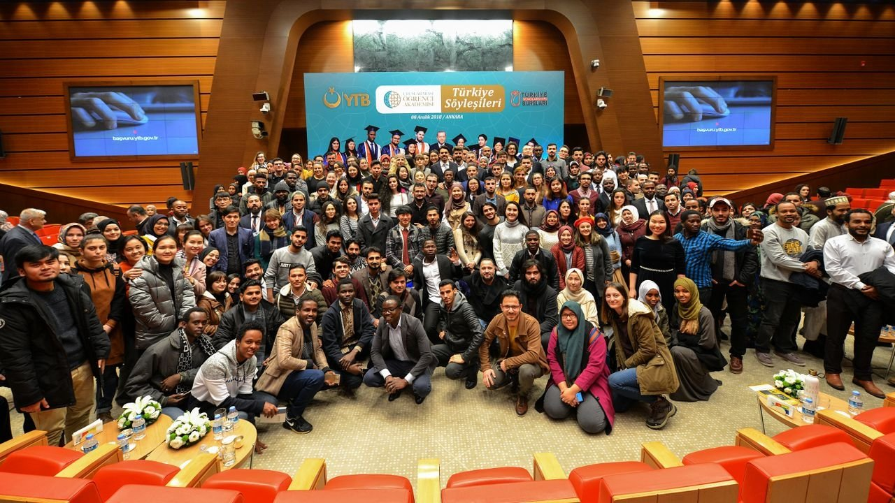 Students pose for a photo at an event of the International Student Academy, in the capital Ankara, Turkey, Dec. 6, 2018. (Courtesy of YTB)