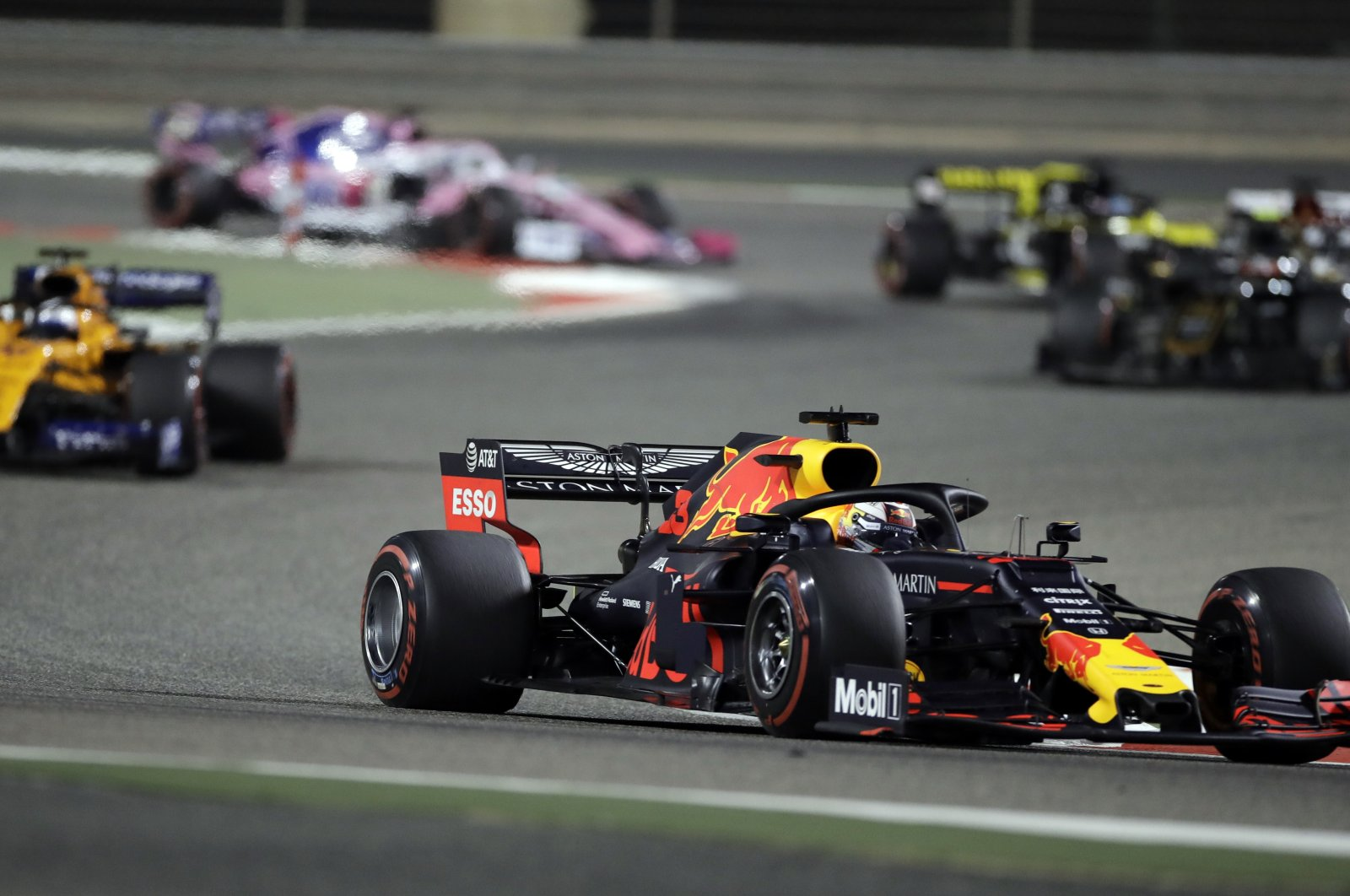 Red Bull driver Max Verstappen steers his car during the F1 Bahrain Grand Prix at the Bahrain International Circuit in Sakhir, Bahrain, March 31, 2019. (AP Photo)