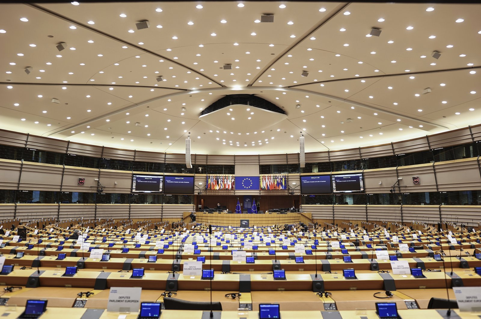 A general view of the room prior to a plenary session of the European Parliament, Brussels, Belgium, Nov. 23, 2020. (AP Photo)