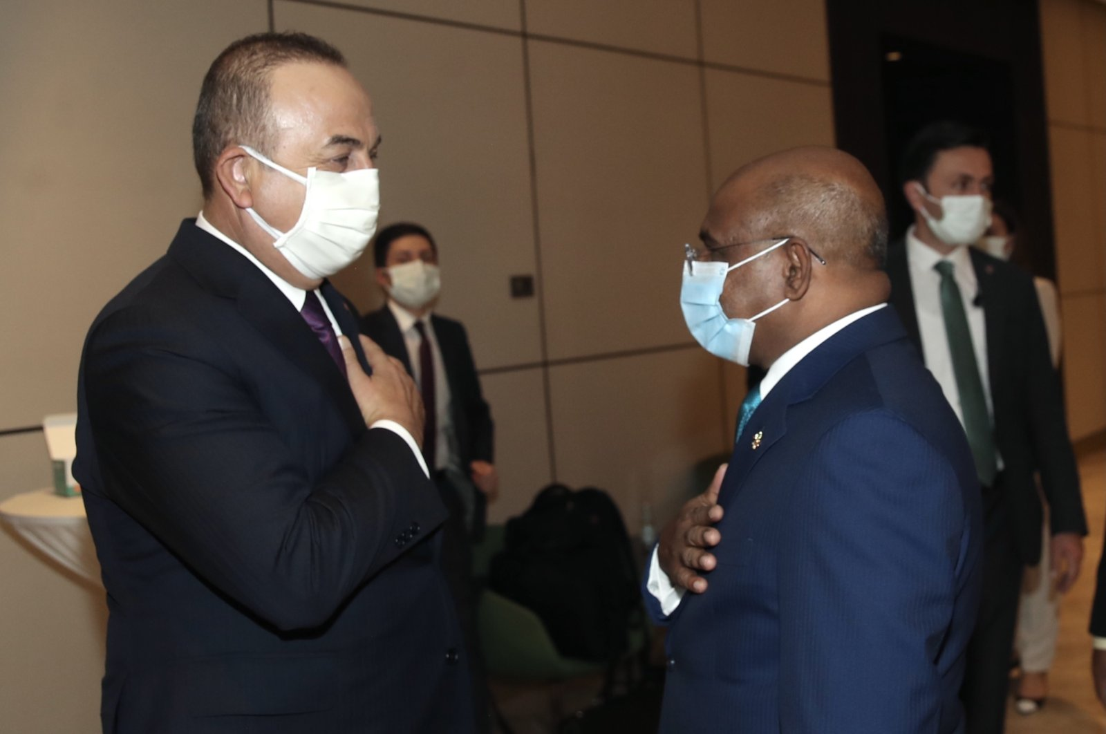 Foreign Minister Mevlüt Çavuşoğlu holds bilateral talks with his Maldivian counterpart Abdulla Shahid in Niger's capital Niamey, Nov. 27, 2020. (AA Photo)